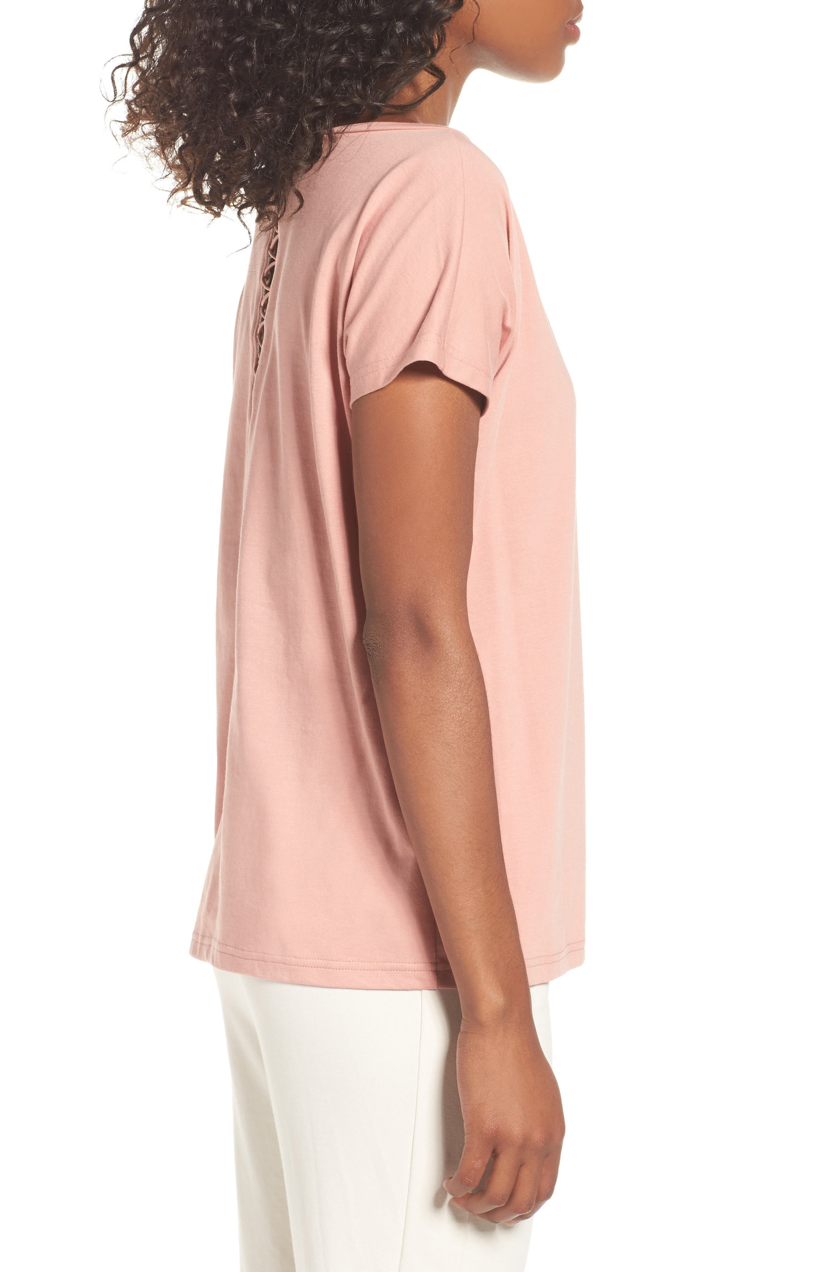 Lux Crisscross Tee,                             Alternate thumbnail 3, color,                             Cameo Brown