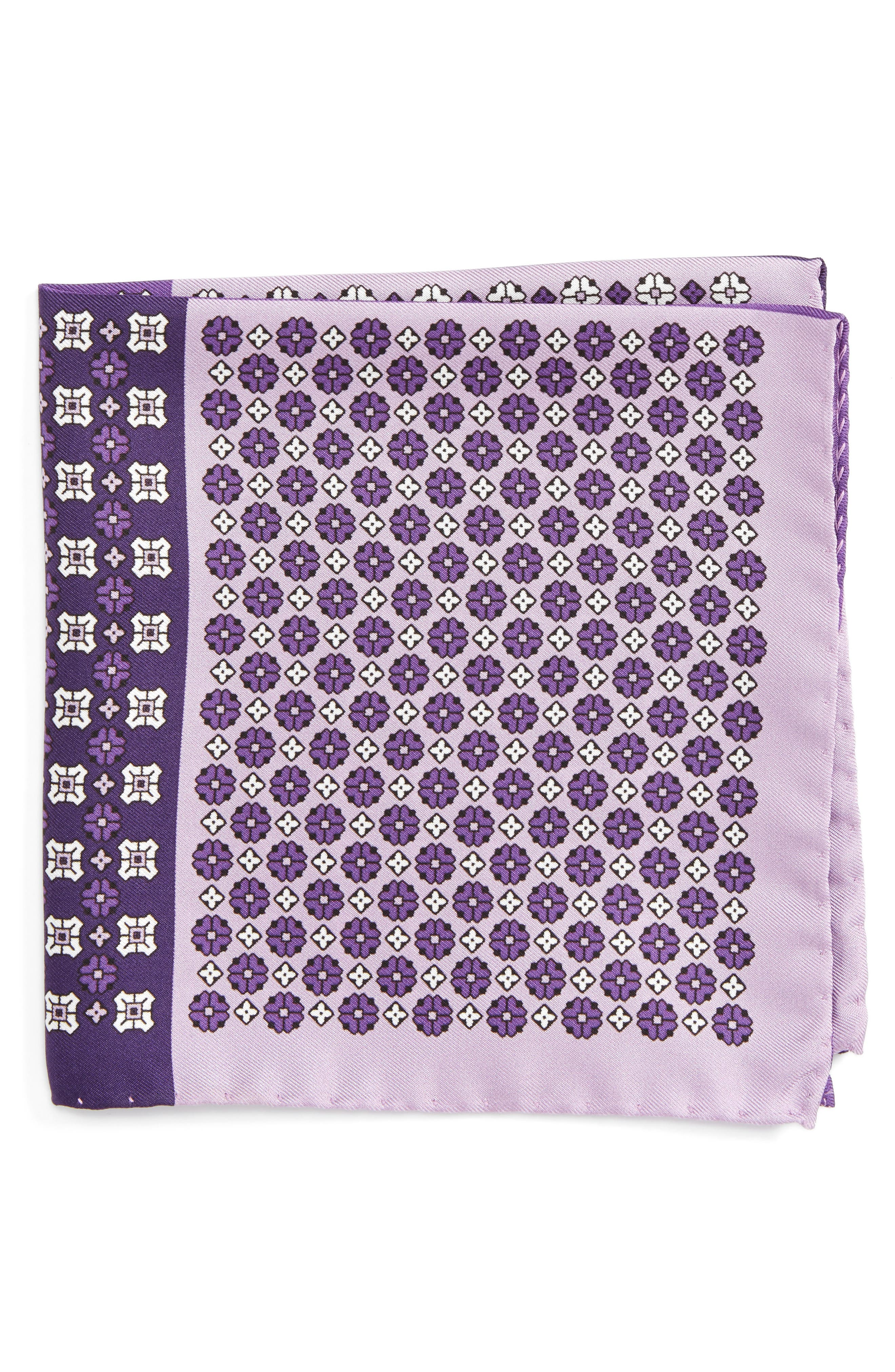 Medallion Silk Pocket Square,                             Main thumbnail 1, color,                             Purple