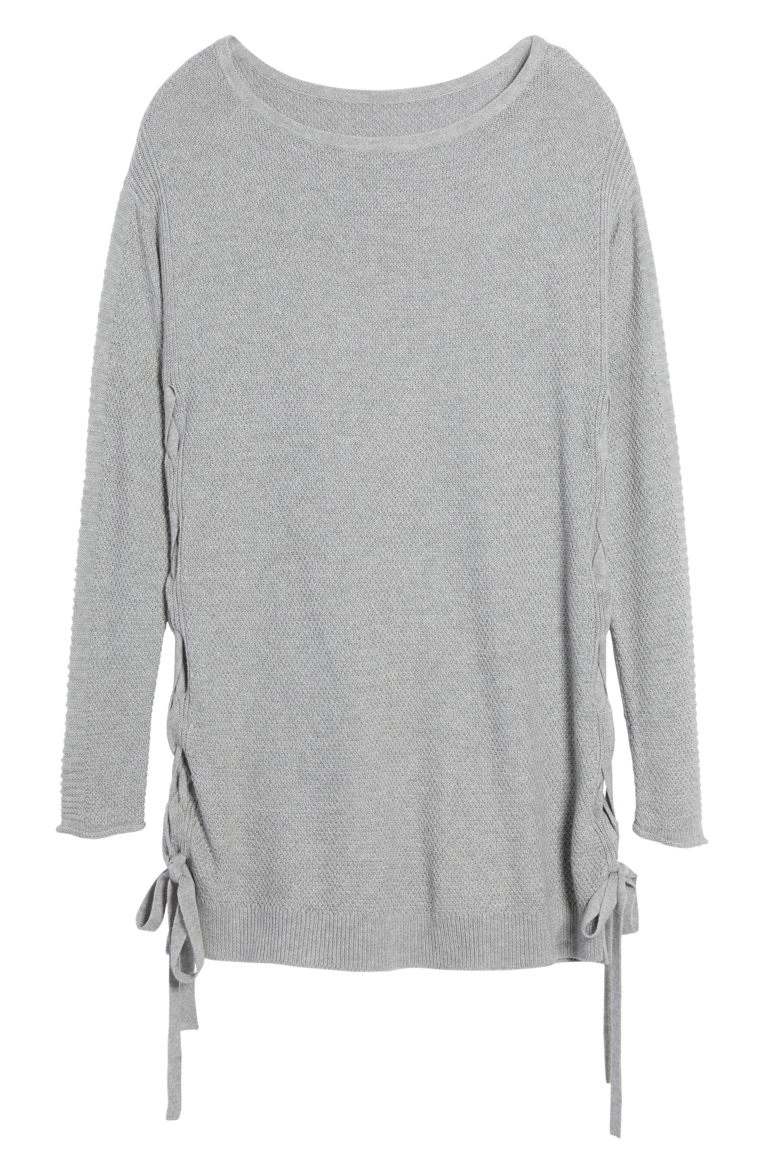 Side Tie Seed Stitch Tunic Top,                             Alternate thumbnail 3, color,                             Heather Grey
