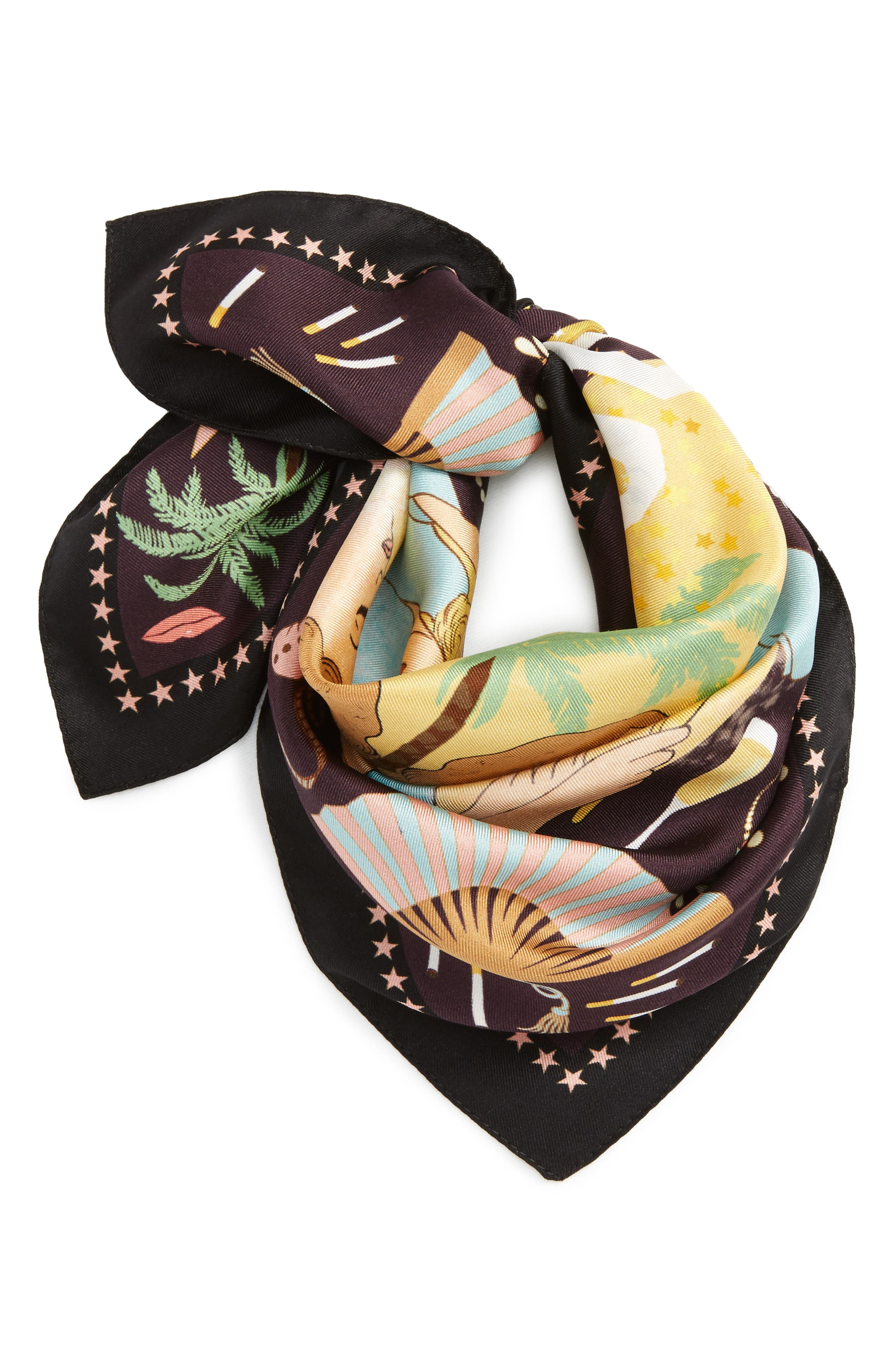 Hollywood Silk Square Scarf,                         Main,                         color, Midnight