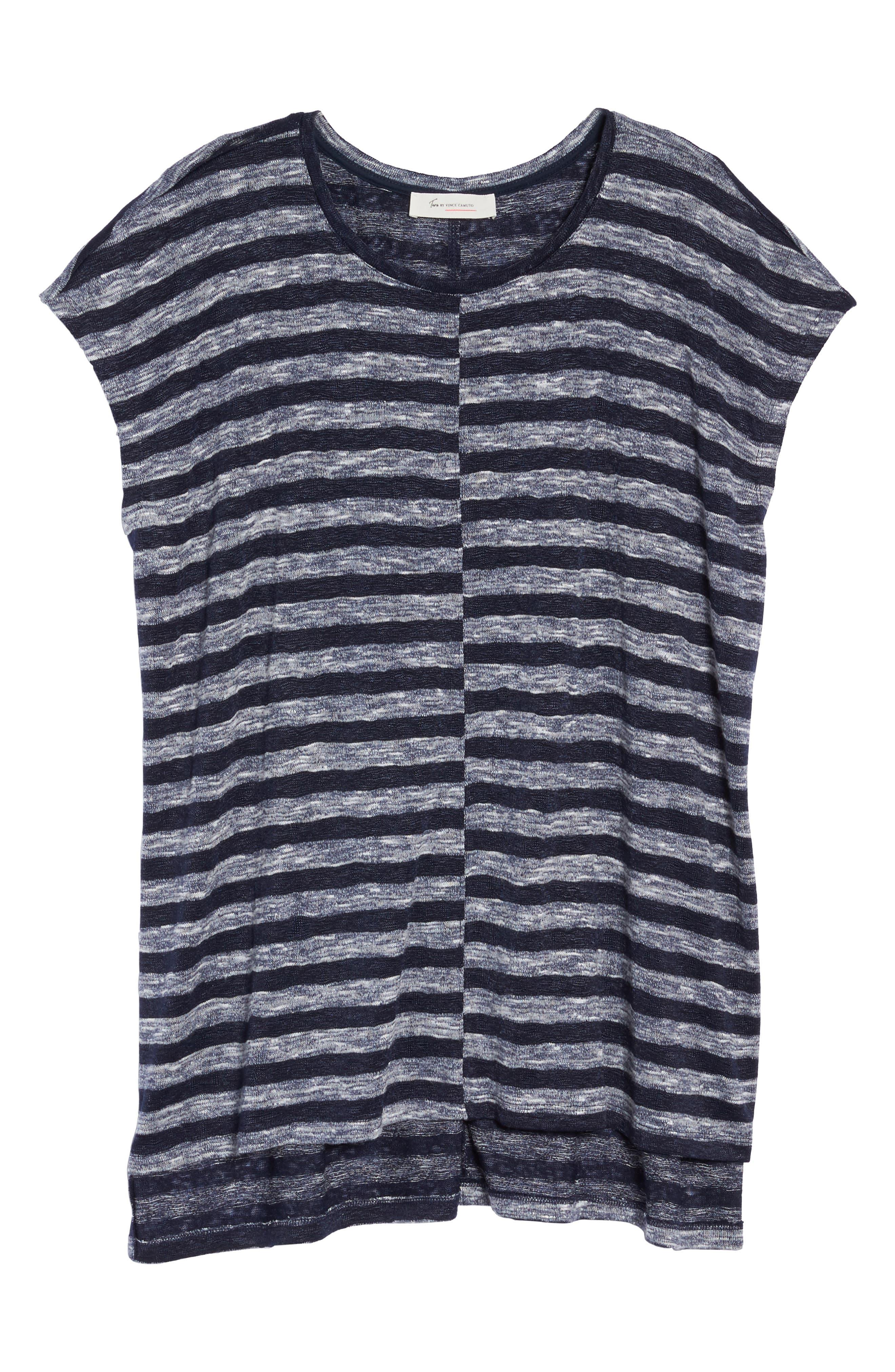 Alternate Image 6  - Two by Vince Camuto Uneven Stripe High/Low Tee (Plus Size)