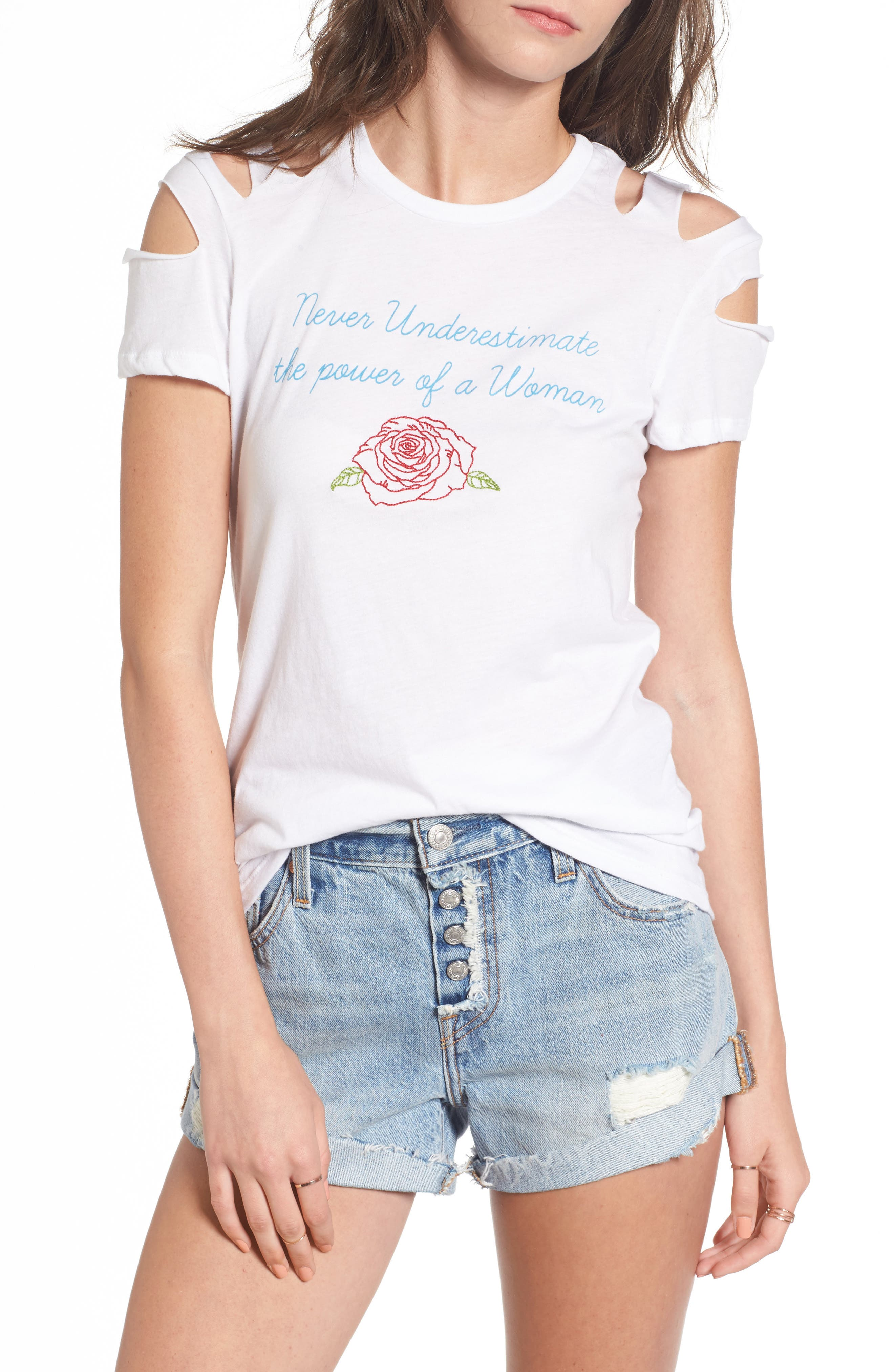 PST by Project Social T Power of a Woman Cold Shoulder Tee