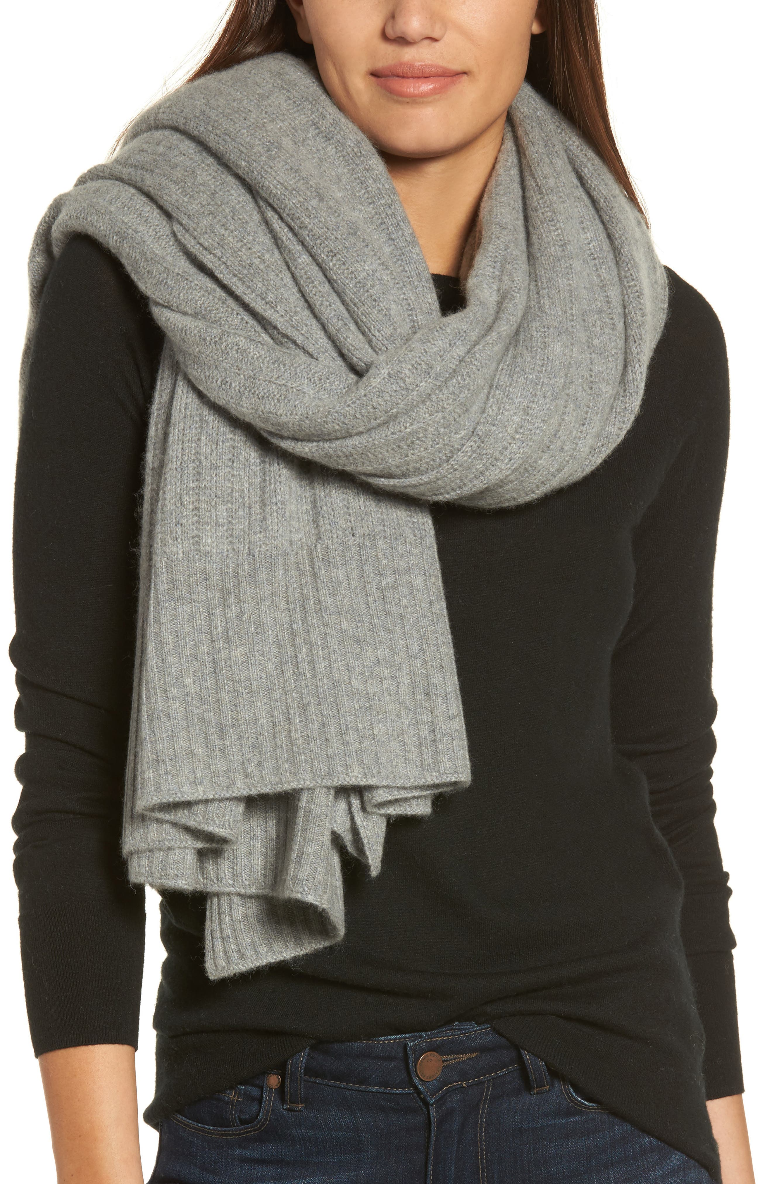 Cashmere Wrap,                             Alternate thumbnail 4, color,                             Grey Med Htr