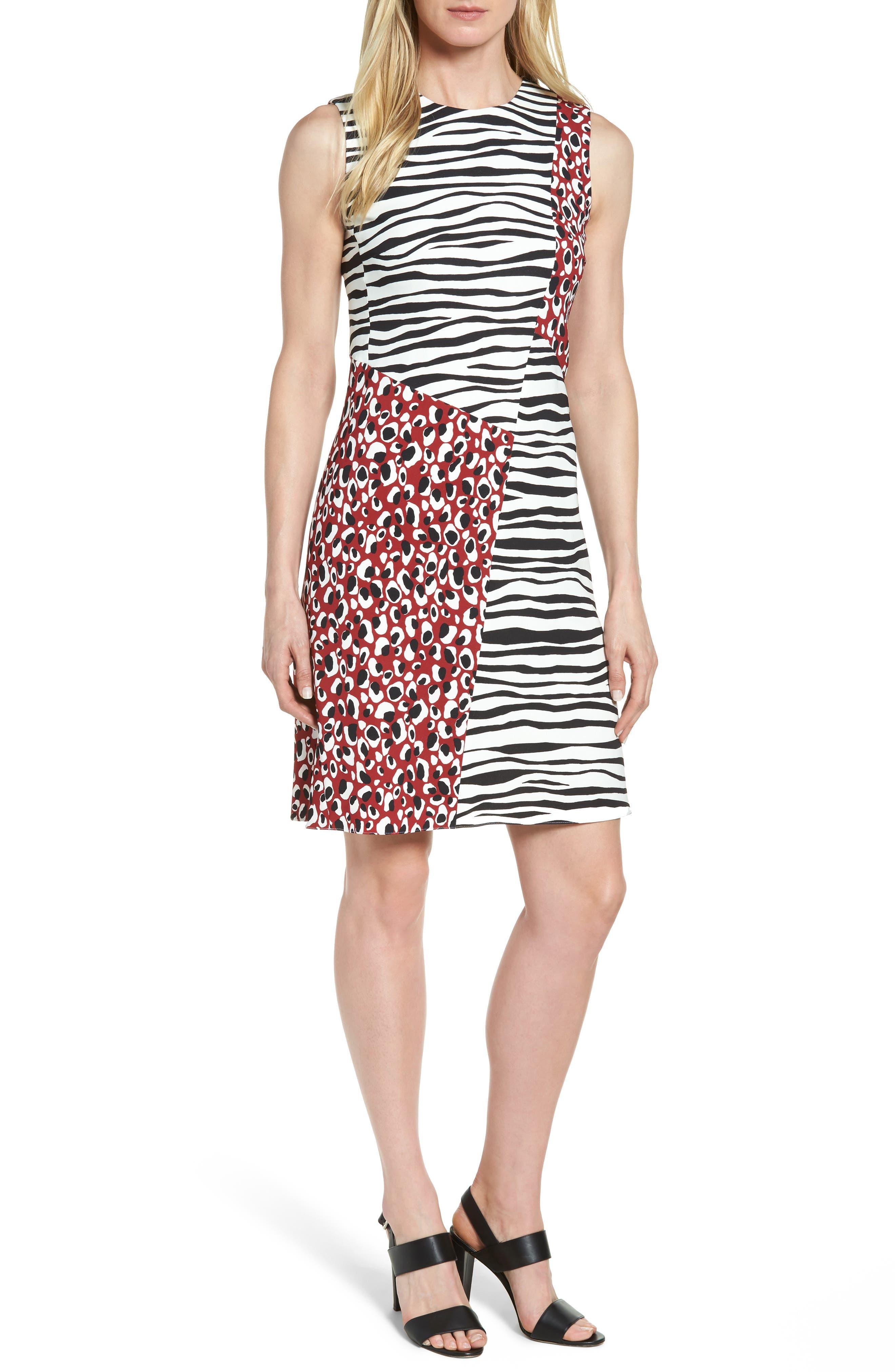 Diseba Animal Print Sheath Dress,                         Main,                         color, Pomegranate Fantasy