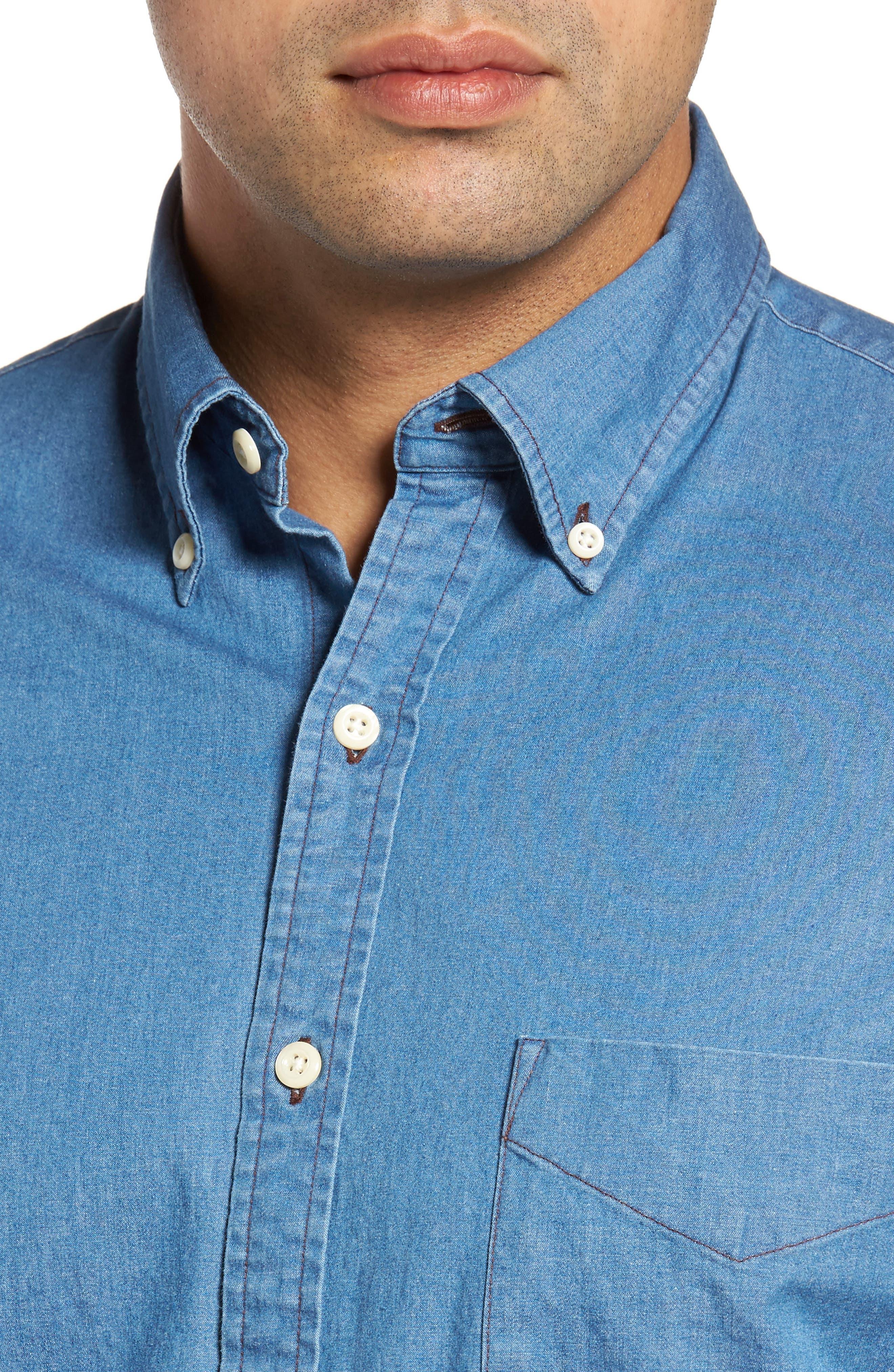 Crown Vintage Regular Fit Denim Sport Shirt,                             Alternate thumbnail 4, color,                             Indigo