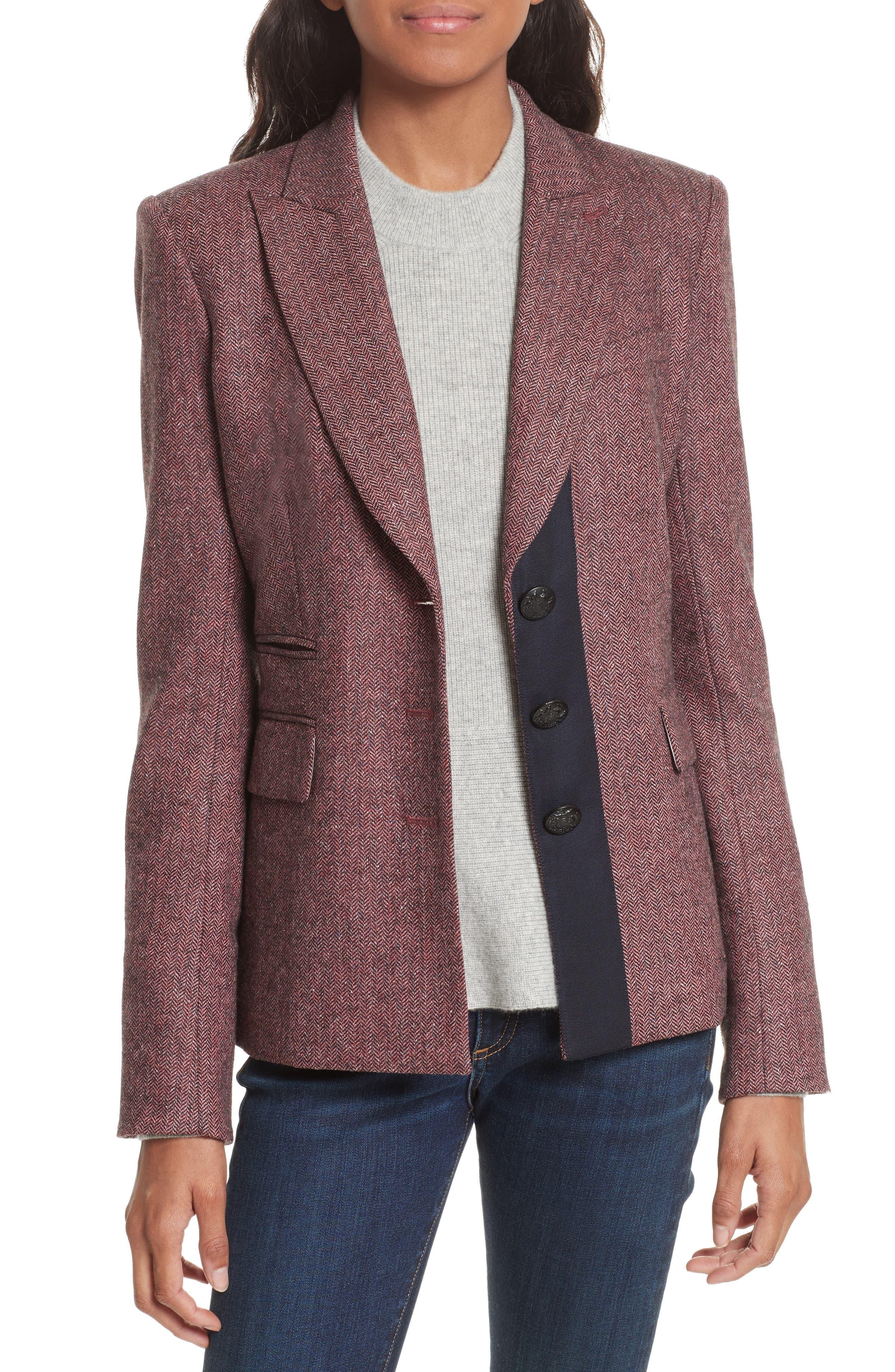 Sterling Grosgrain Trim Jacket,                             Main thumbnail 1, color,                             Rose