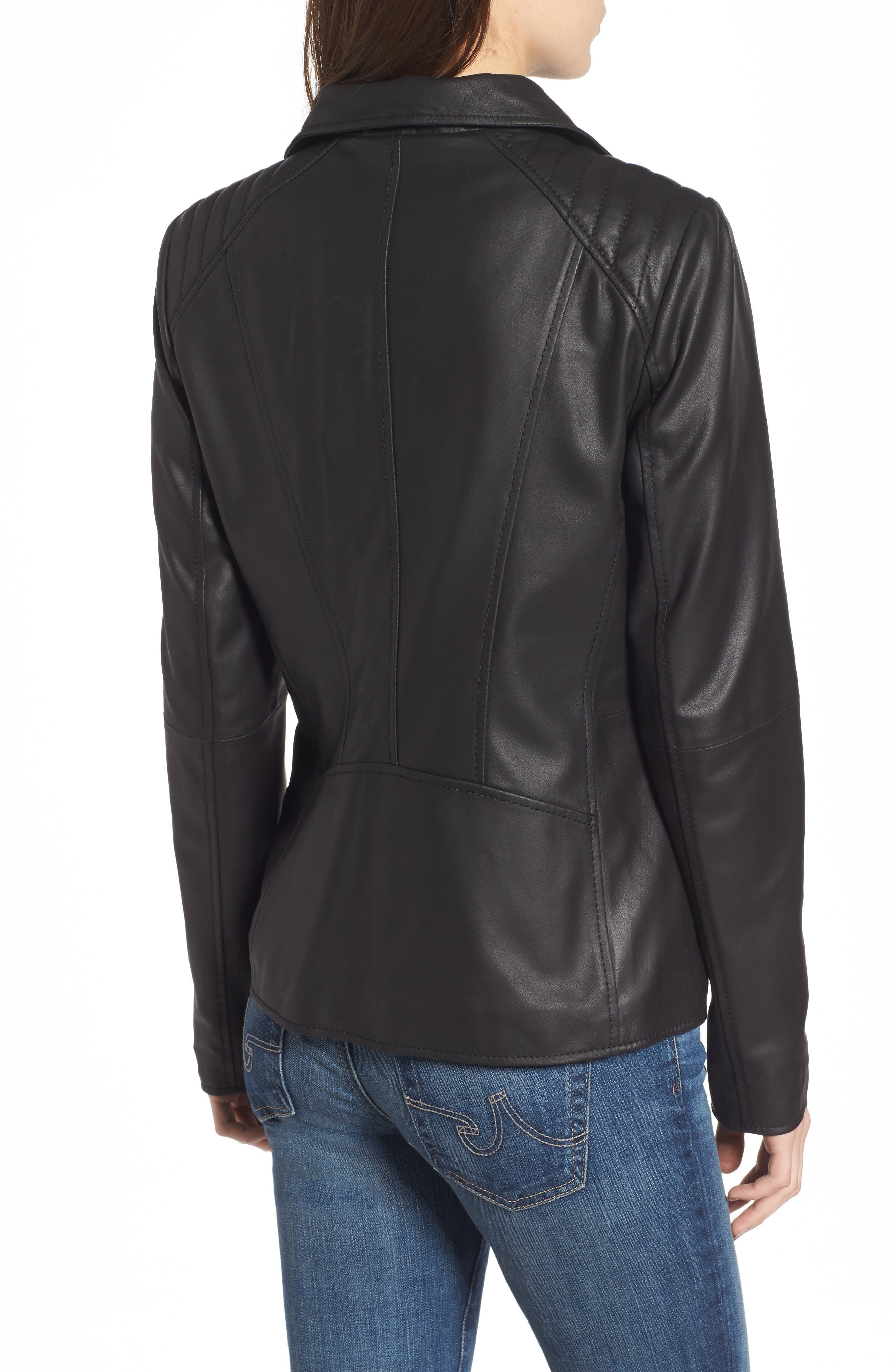 Fabian Feather Leather Jacket,                             Alternate thumbnail 2, color,                             Black