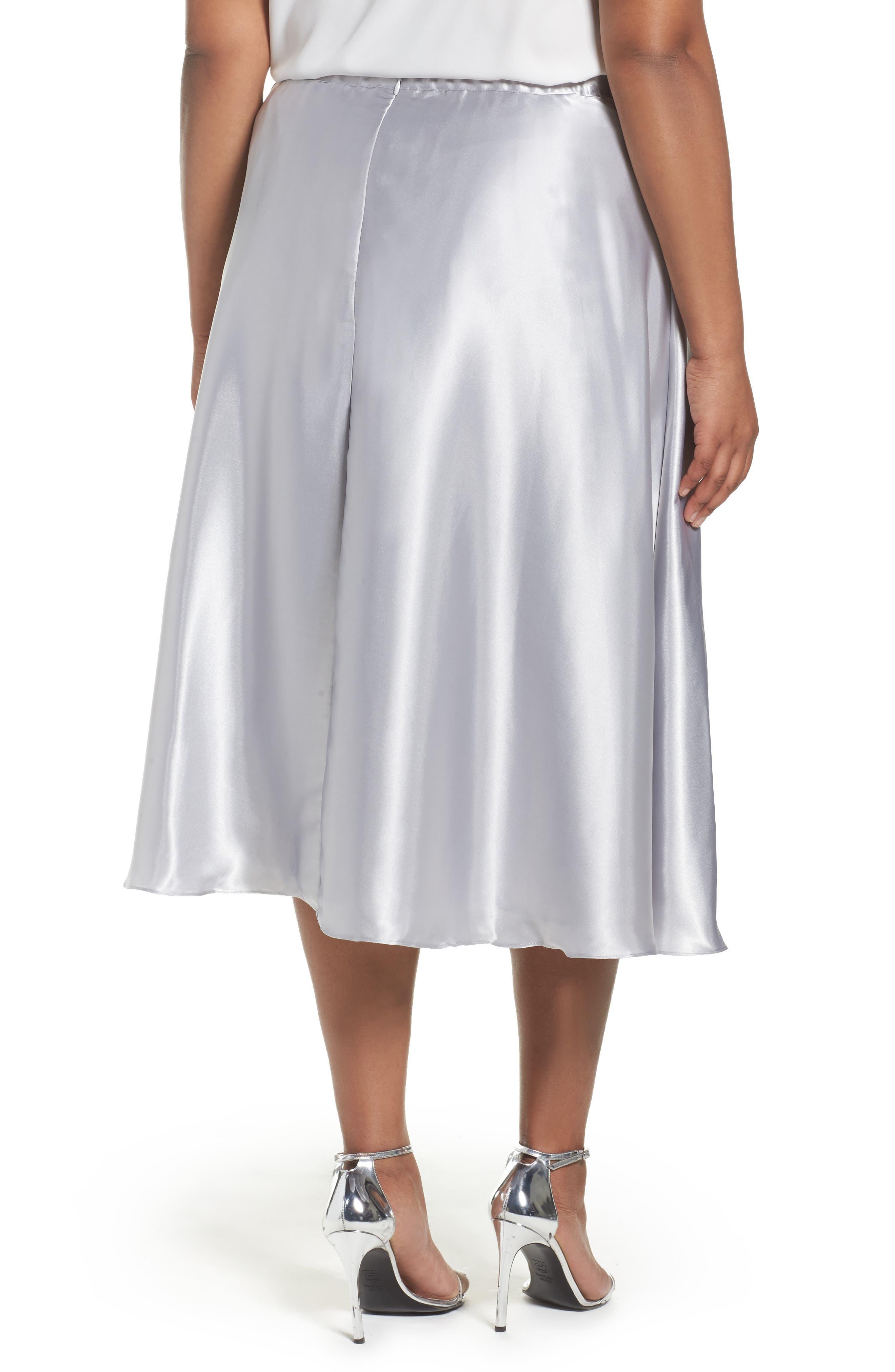 Alternate Image 2  - Alex Evenings Full Charmeuse Tea-Length Skirt (Plus Size)