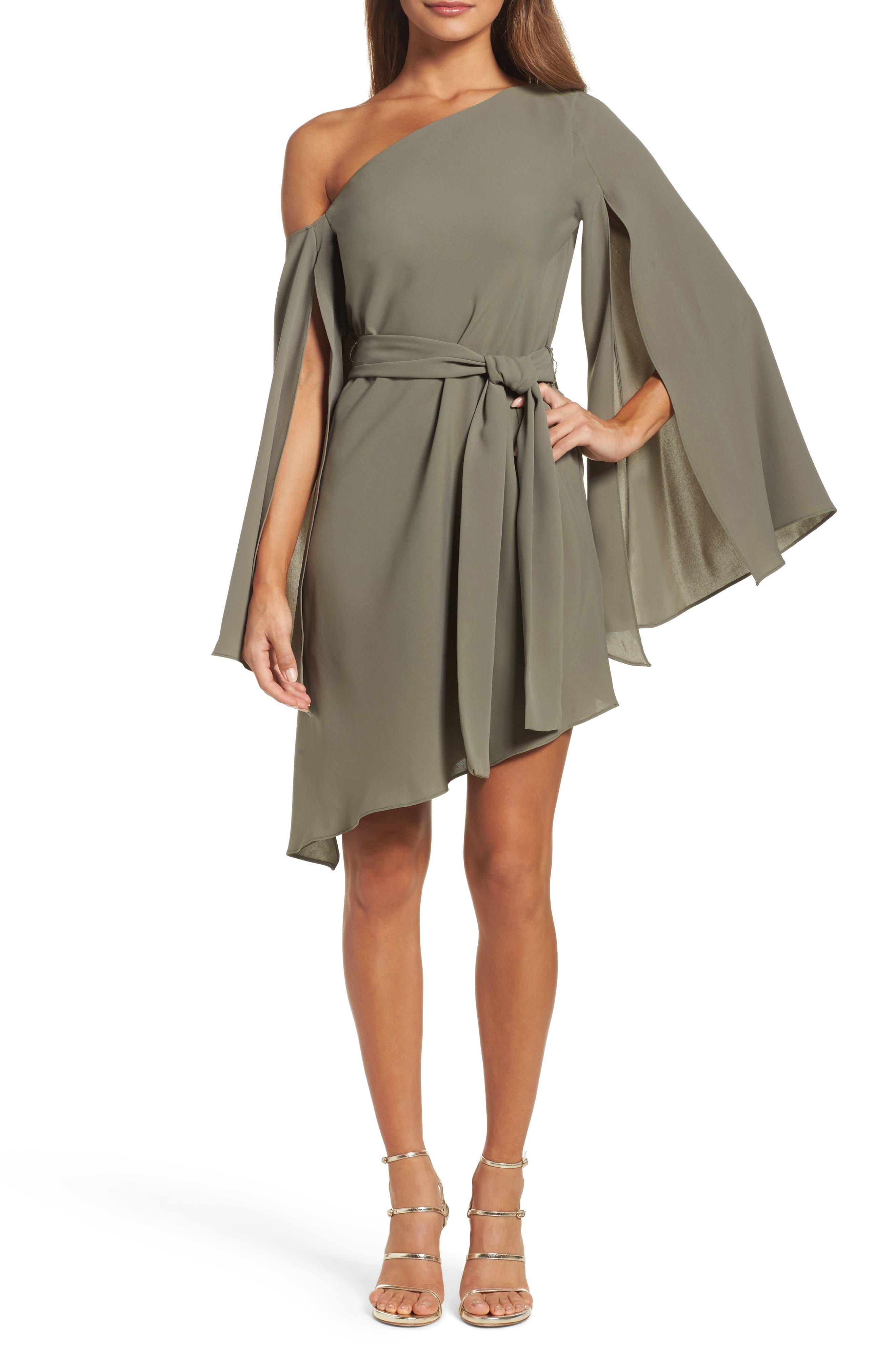 Beyond Me One-Shoulder Dress,                         Main,                         color, Khaki