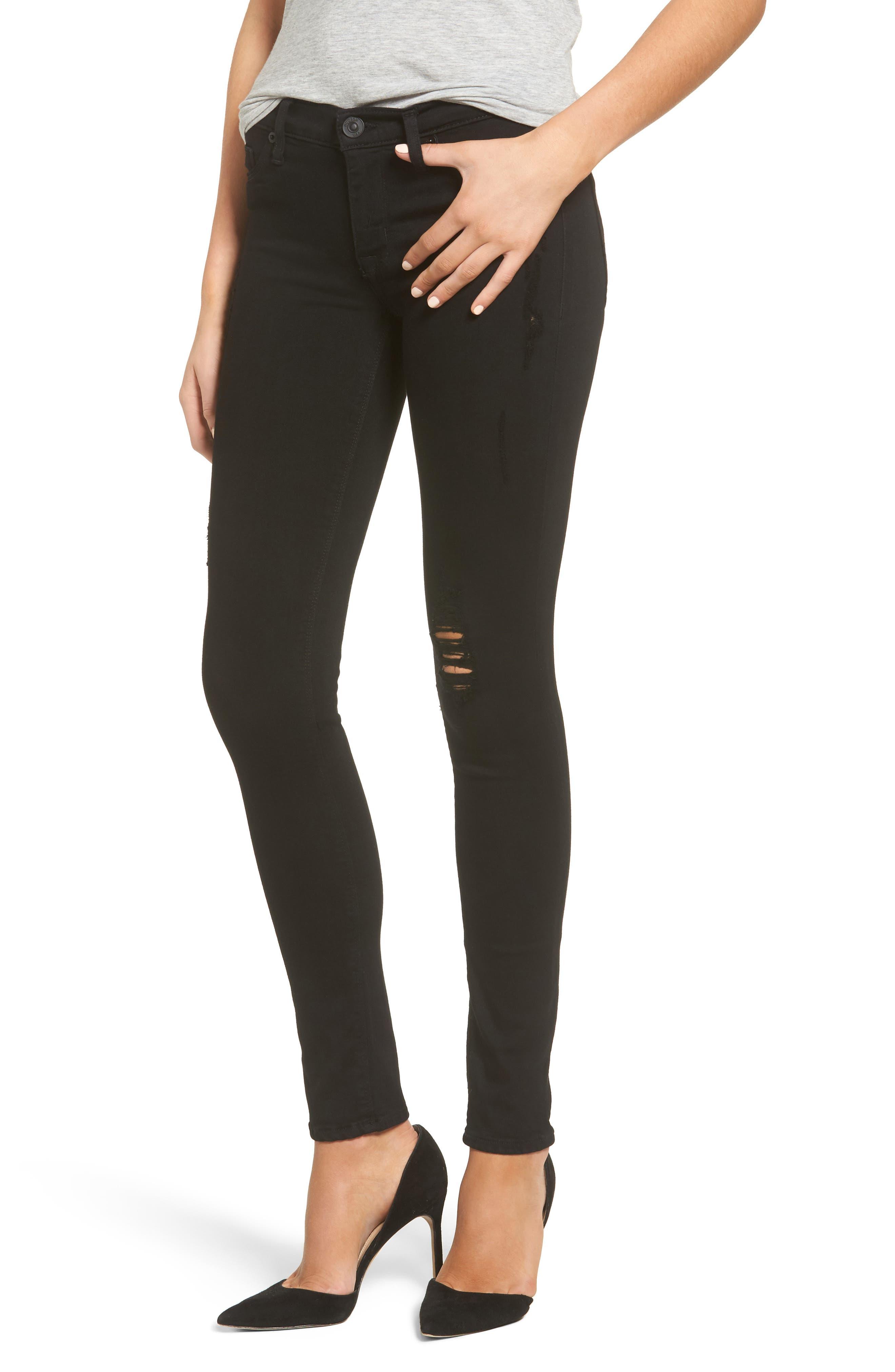 Hudson Jeans Krista Distressed Super Skinny Jeans (Semi Sweet)