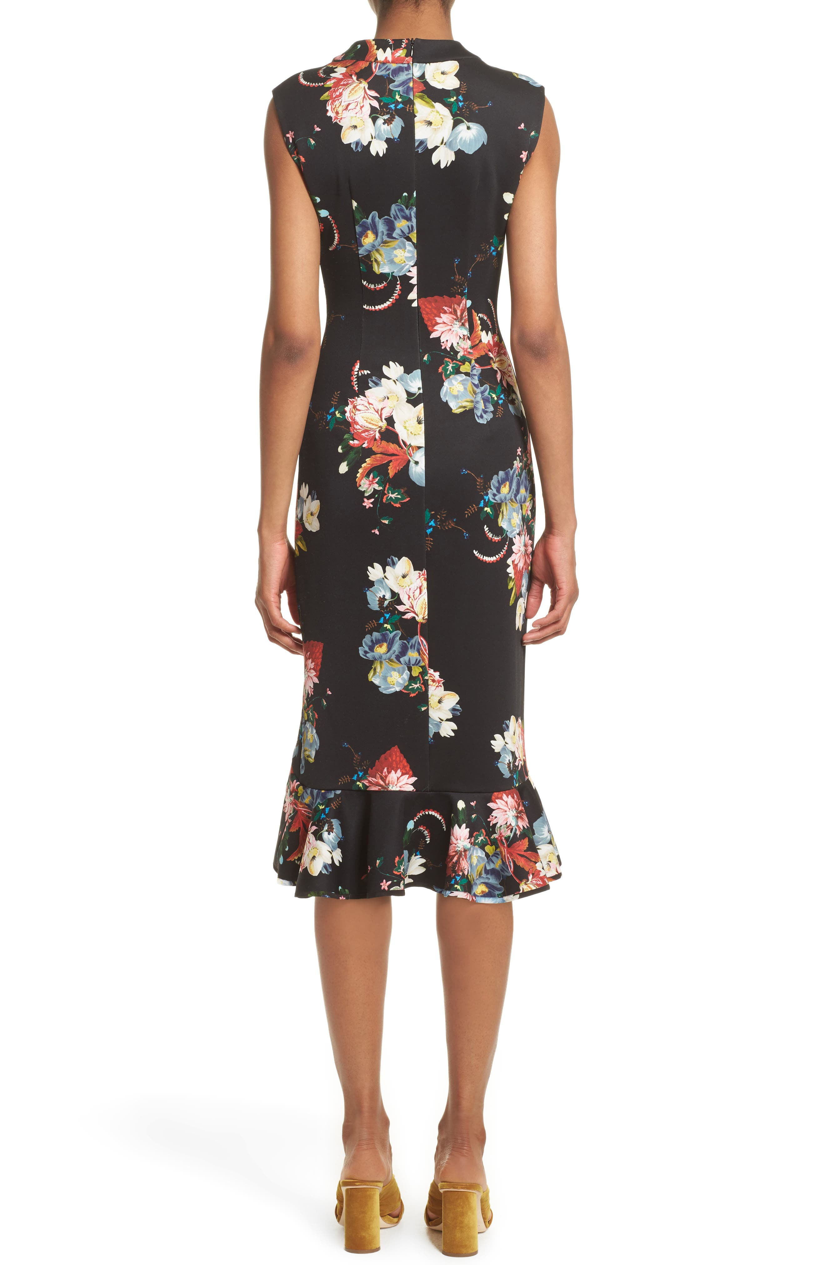 Floral Print Flounce Hem Cady Dress,                             Alternate thumbnail 2, color,                             Black/ Multi