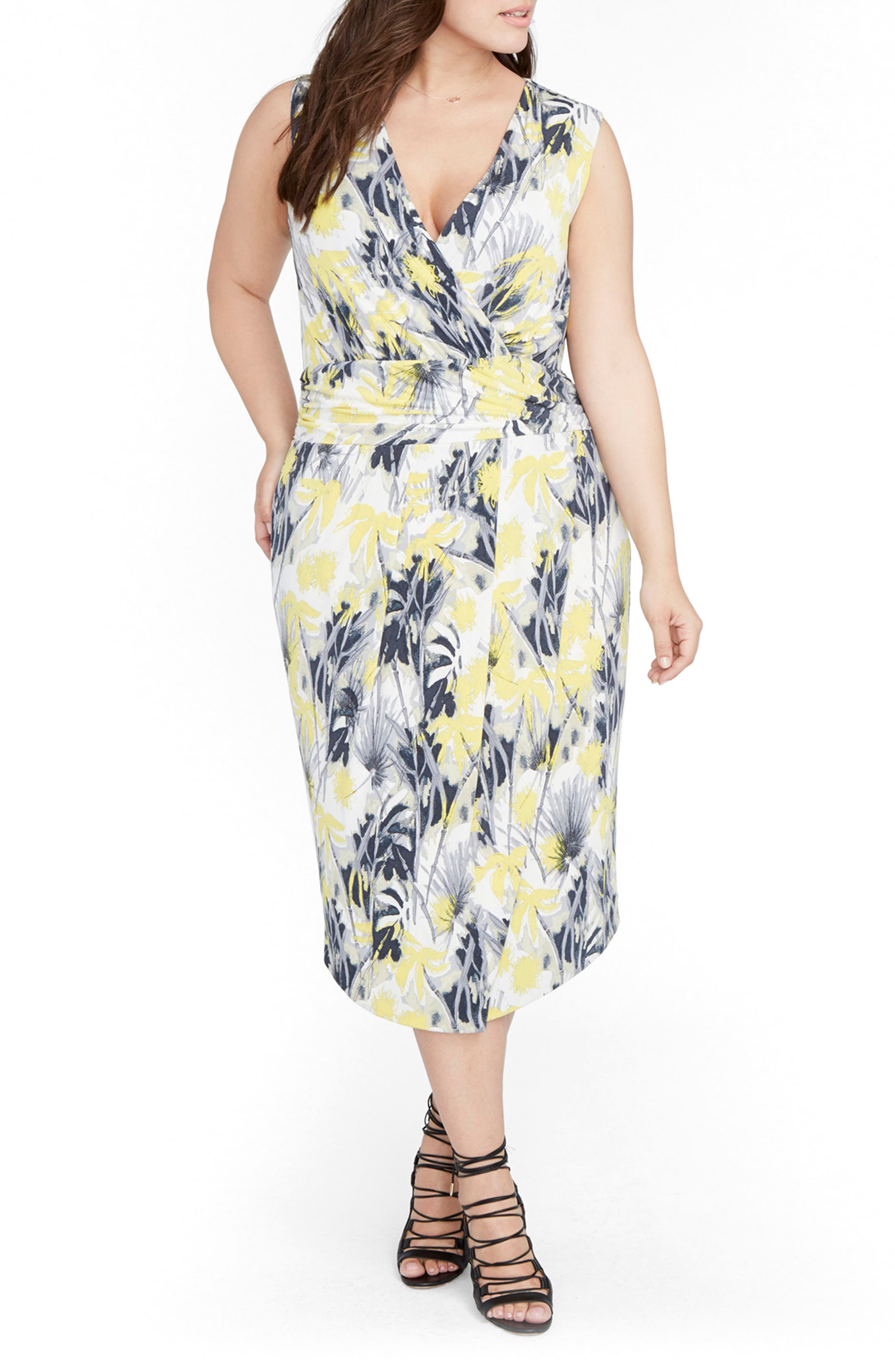 Print Ruched Waist Midi Dress,                         Main,                         color, Yellow Combo