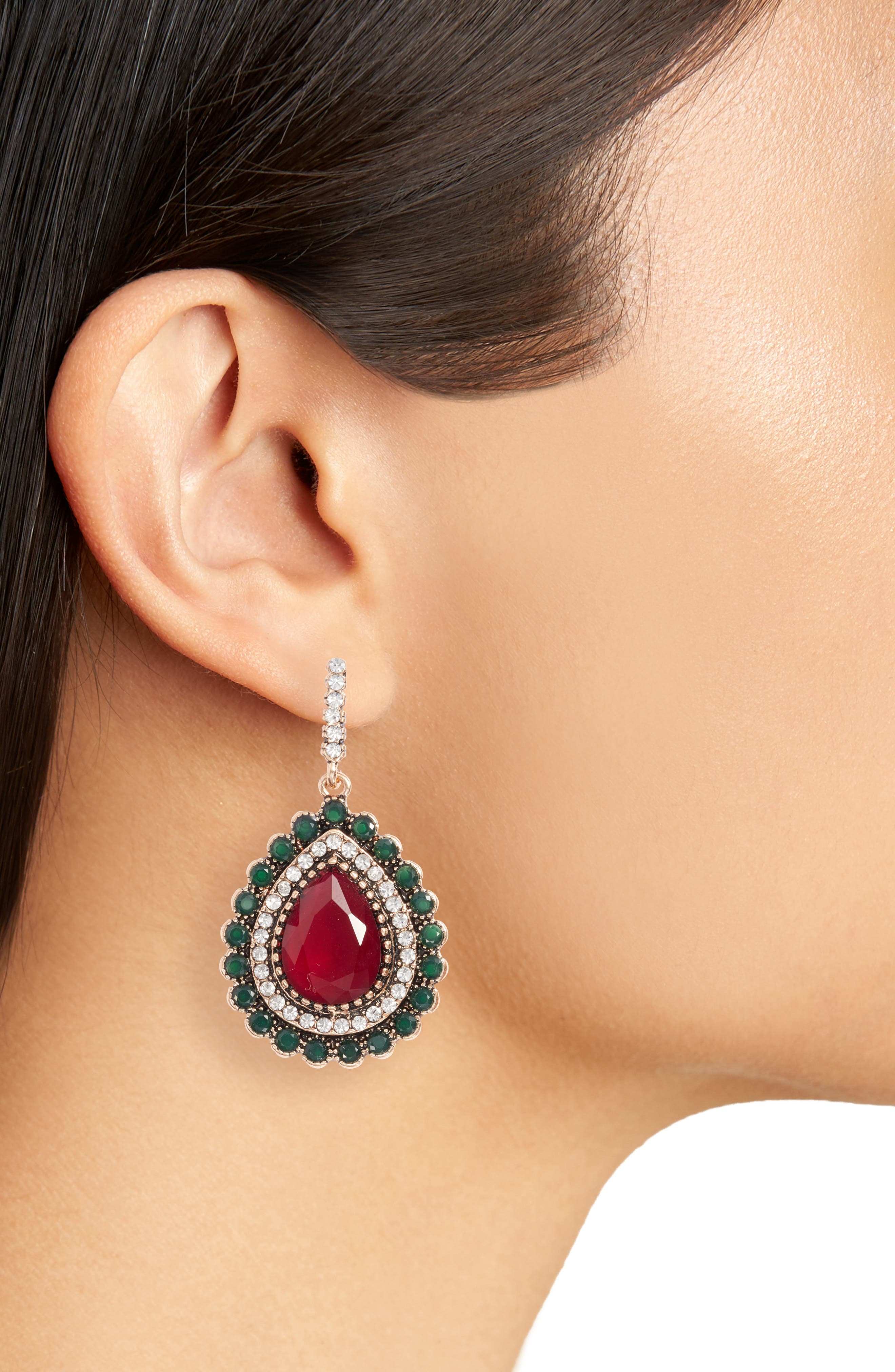 Lily Teardrop Earrings,                             Alternate thumbnail 2, color,                             Red / Gold