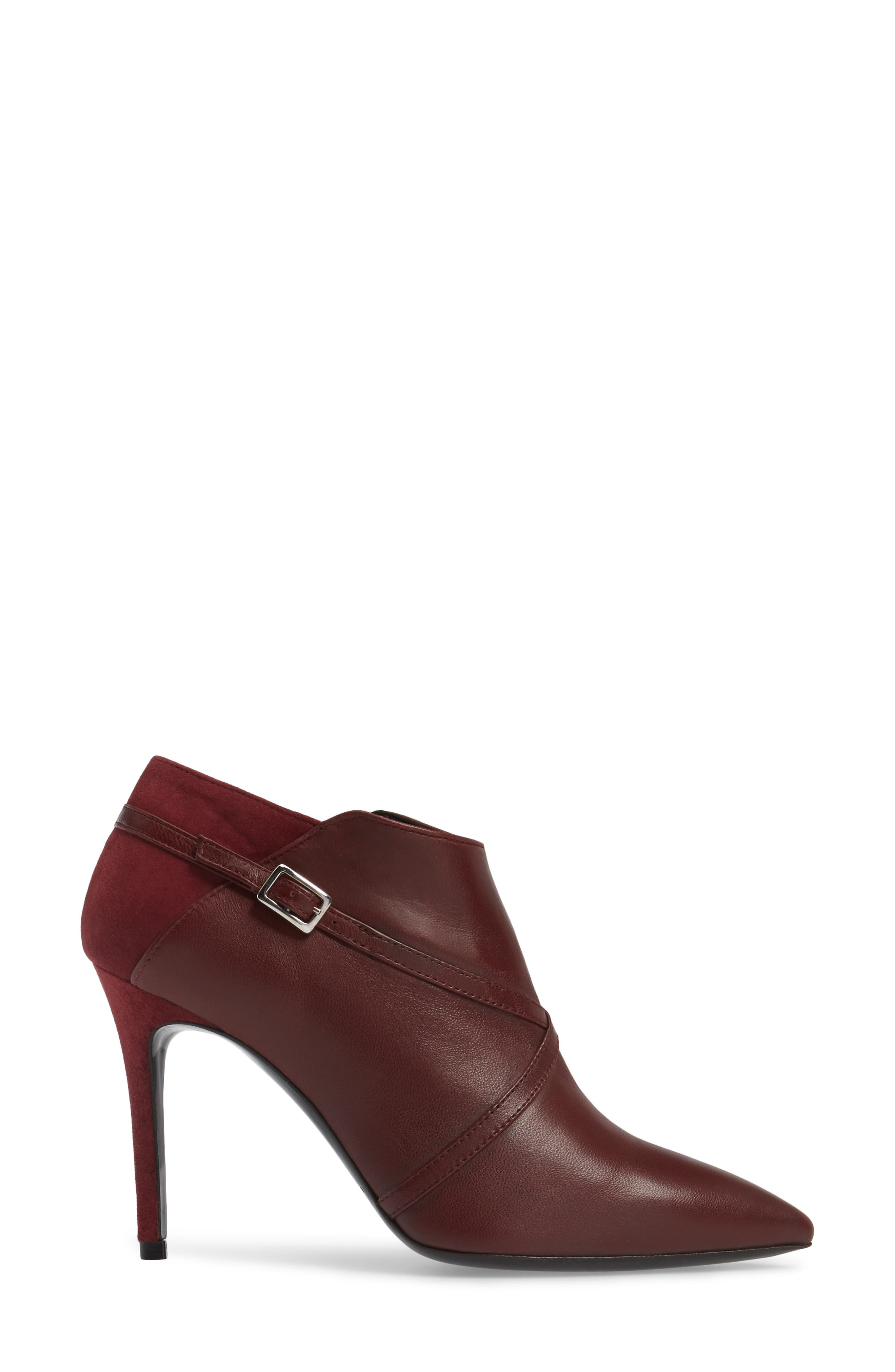 Laura Cross Strap Bootie,                             Alternate thumbnail 3, color,                             Burgundy Suede