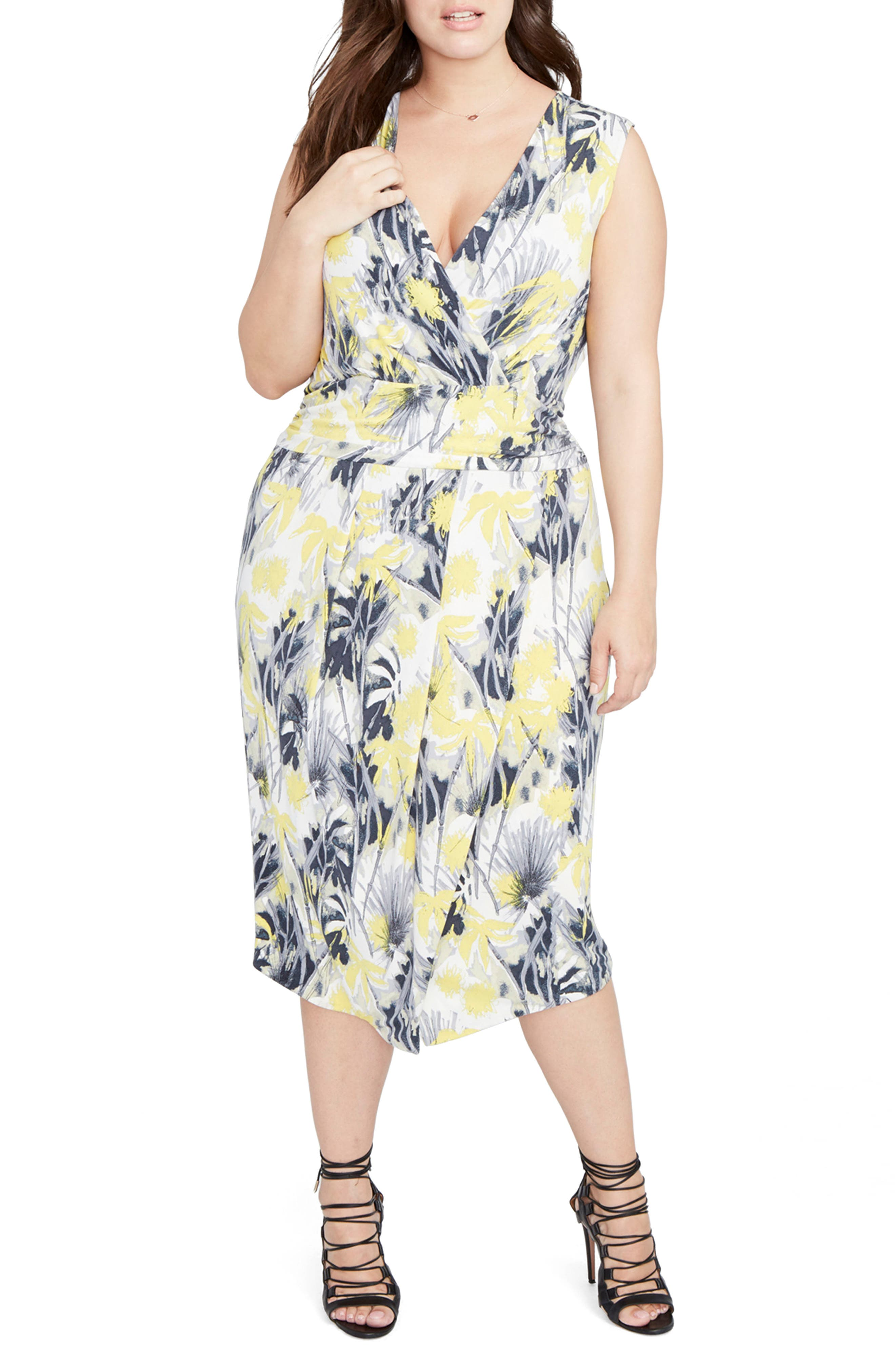 Print Ruched Waist Midi Dress,                             Alternate thumbnail 2, color,                             Yellow Combo
