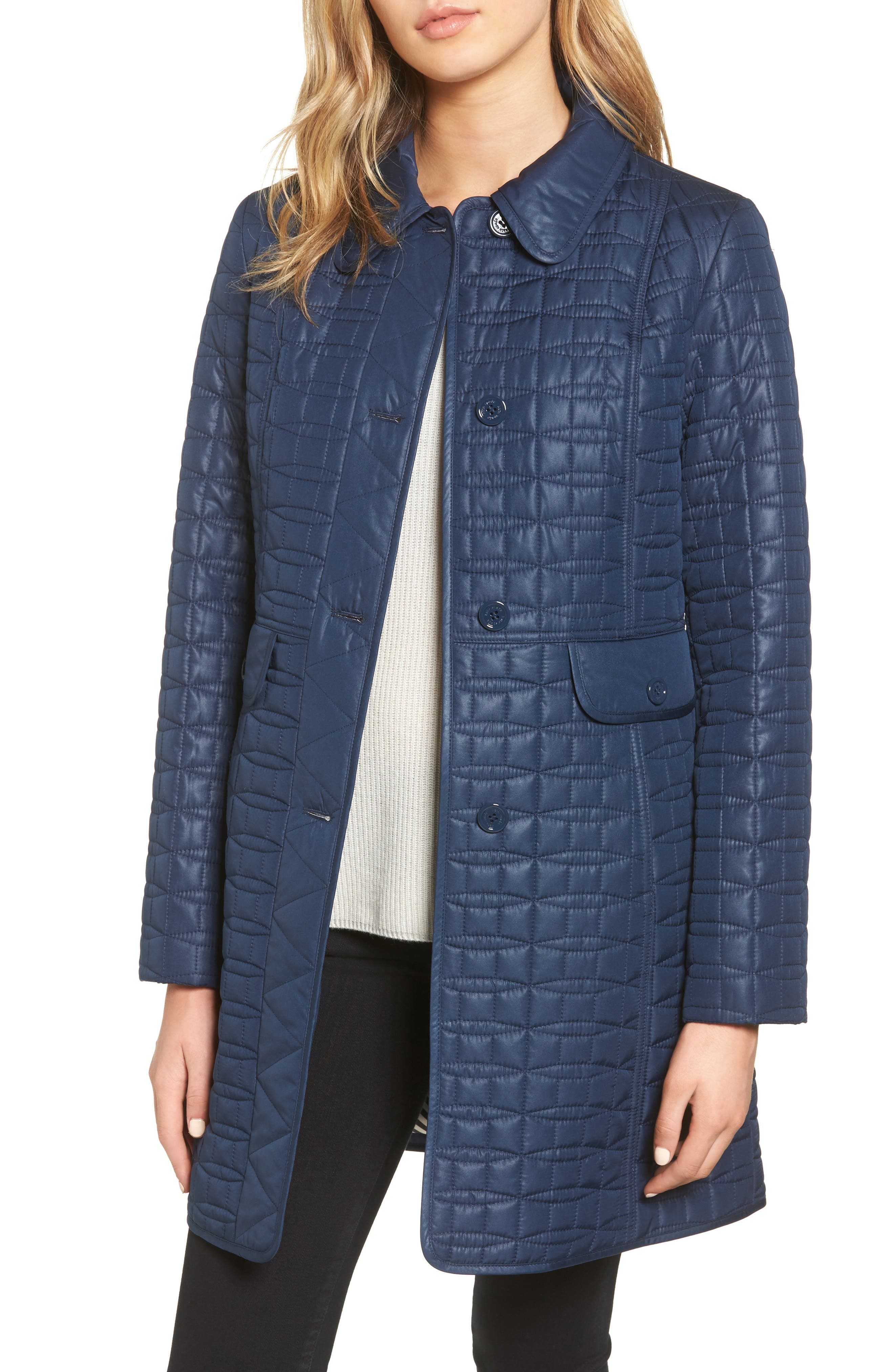 water resistant quilted coat,                             Main thumbnail 1, color,                             Rich Navy