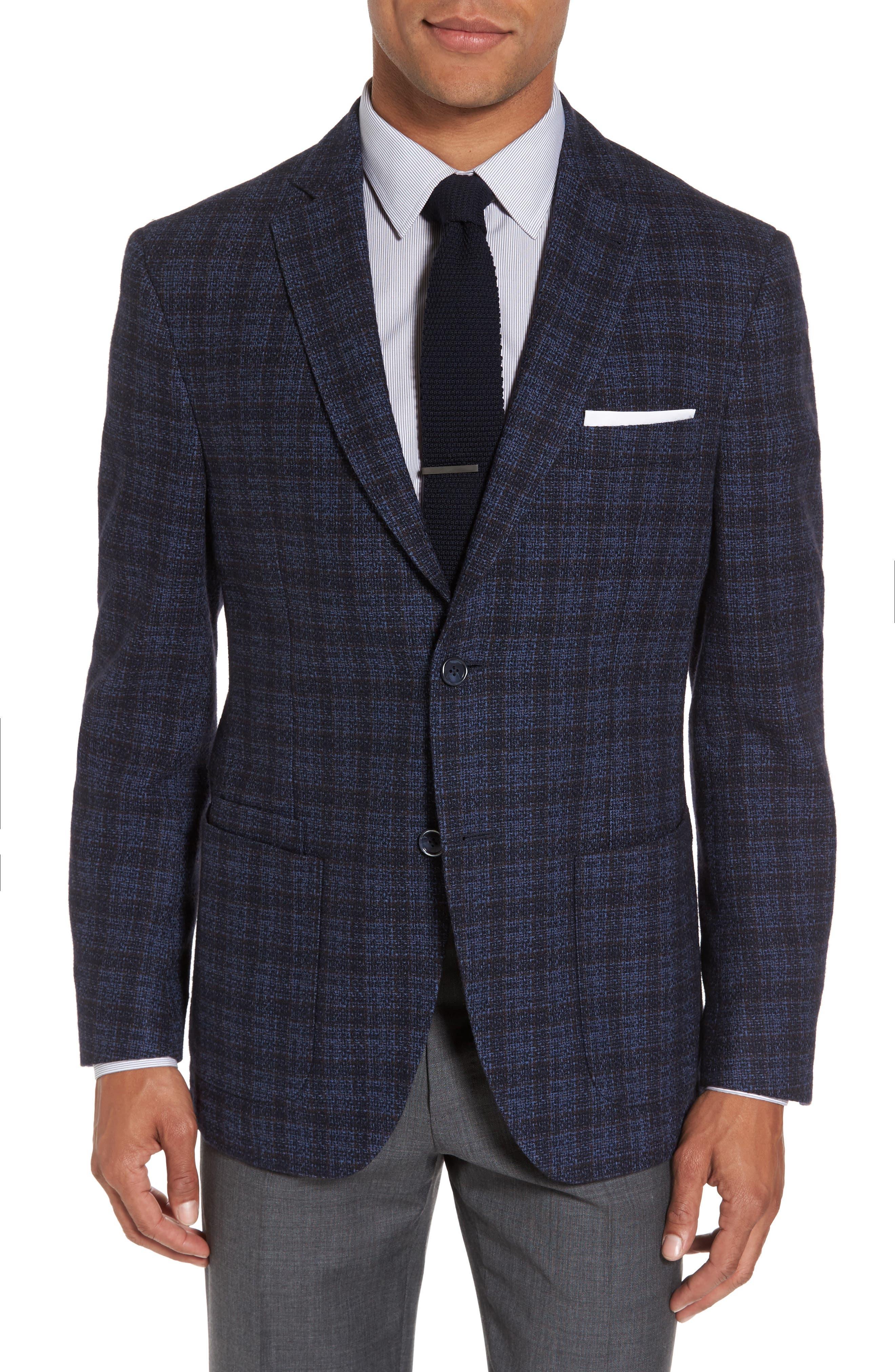 JKT New York Trim Fit Plaid Cotton Blend Sport Coat
