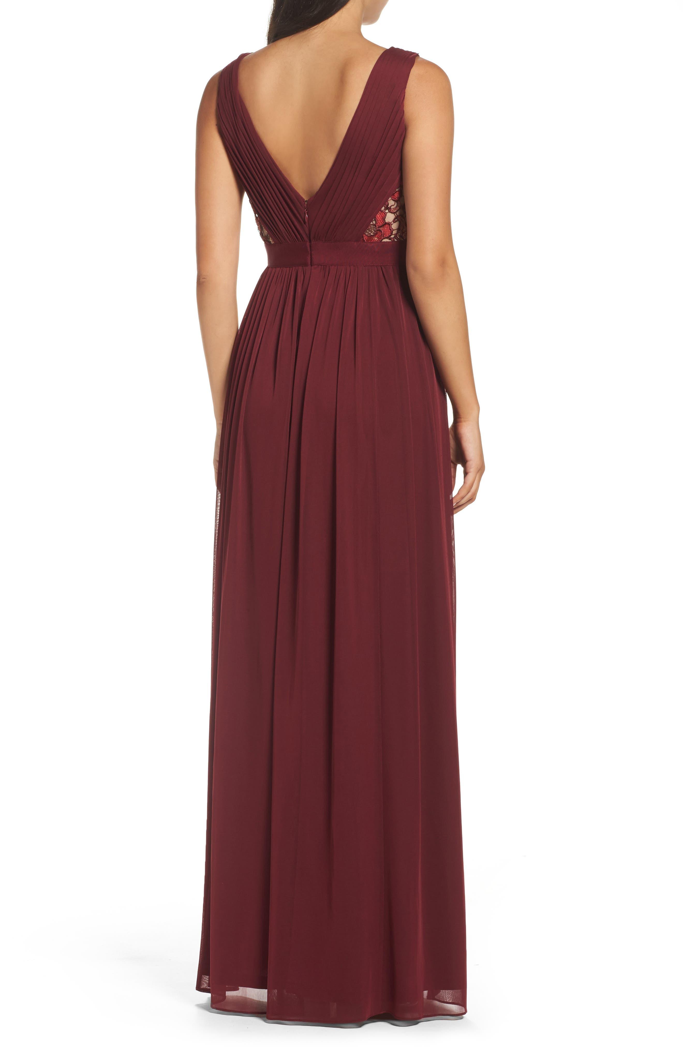 Sequin Lace & Tulle Gown,                             Alternate thumbnail 2, color,                             Black Cherry