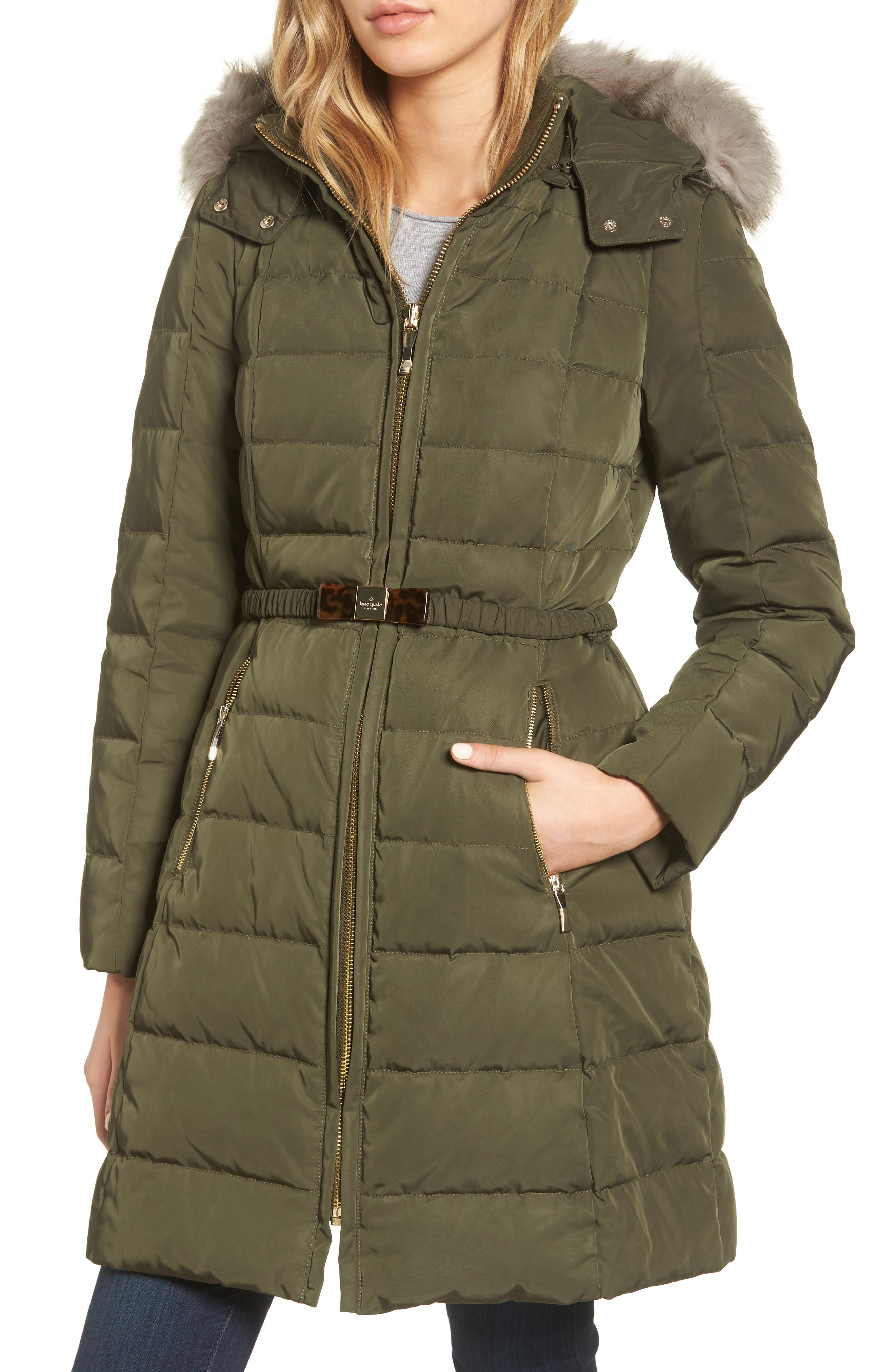 kate spade new york water-resistant quilted down coat with detachable faux fur trimmed hood