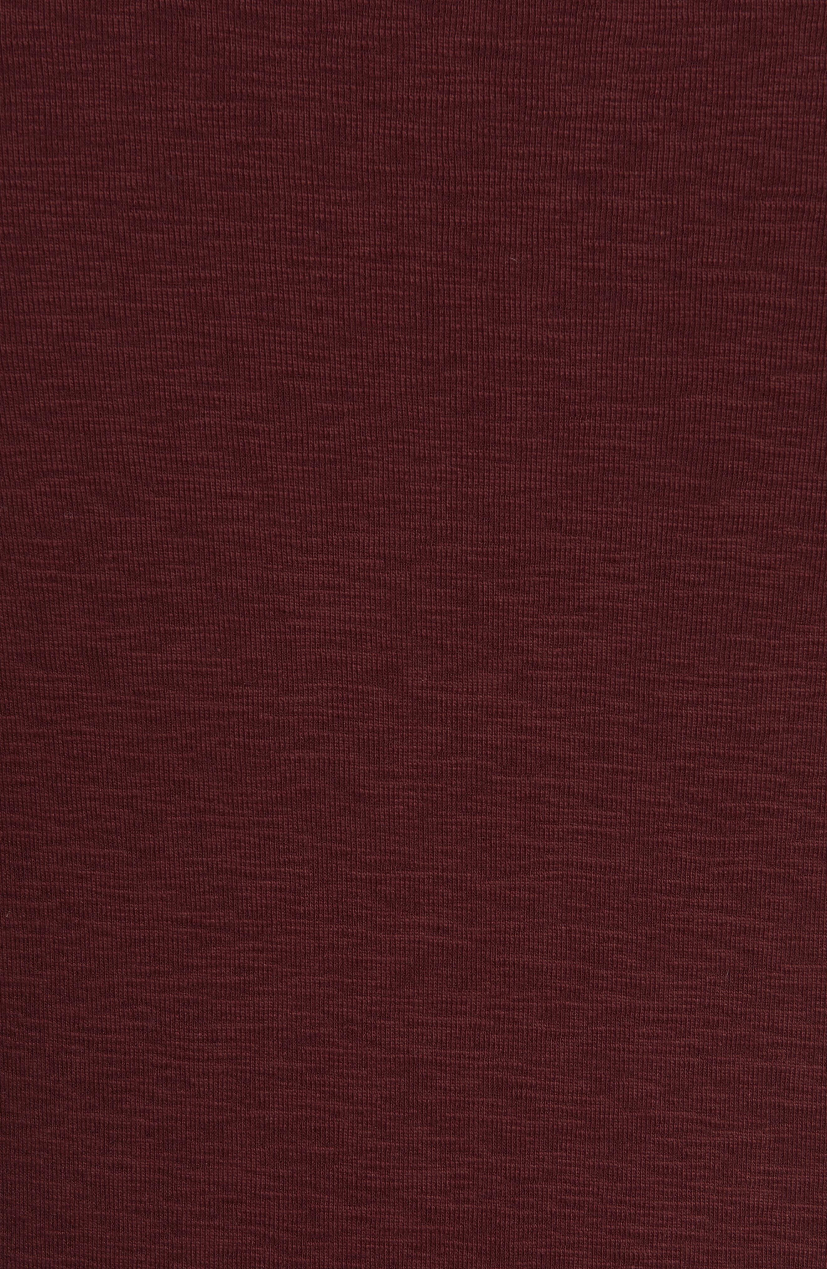 Ribbed Slub Cotton T-Shirt,                             Alternate thumbnail 5, color,                             Oxblood