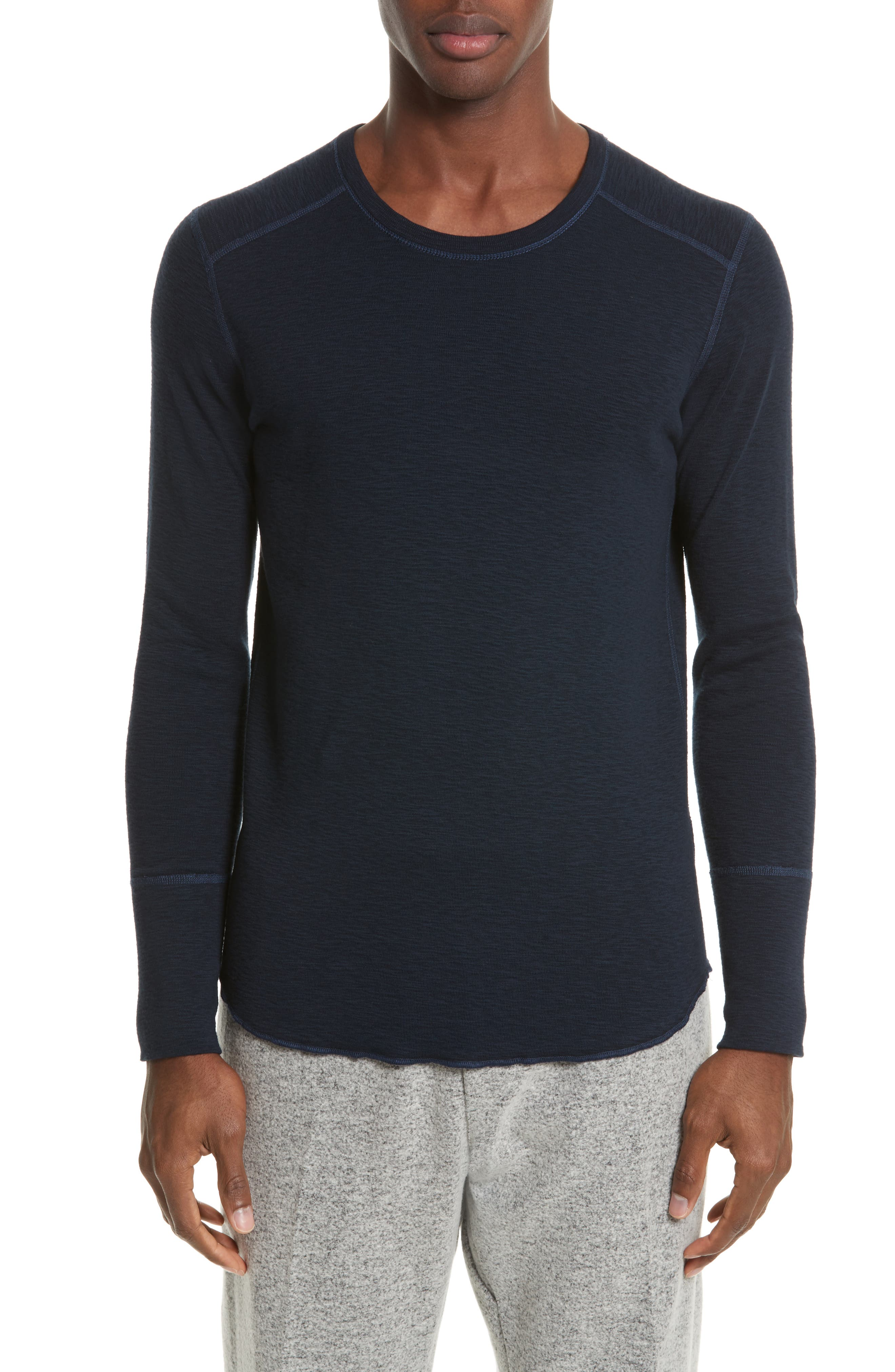 WINGS + HORNS Slub Crewneck Sweater in Navy