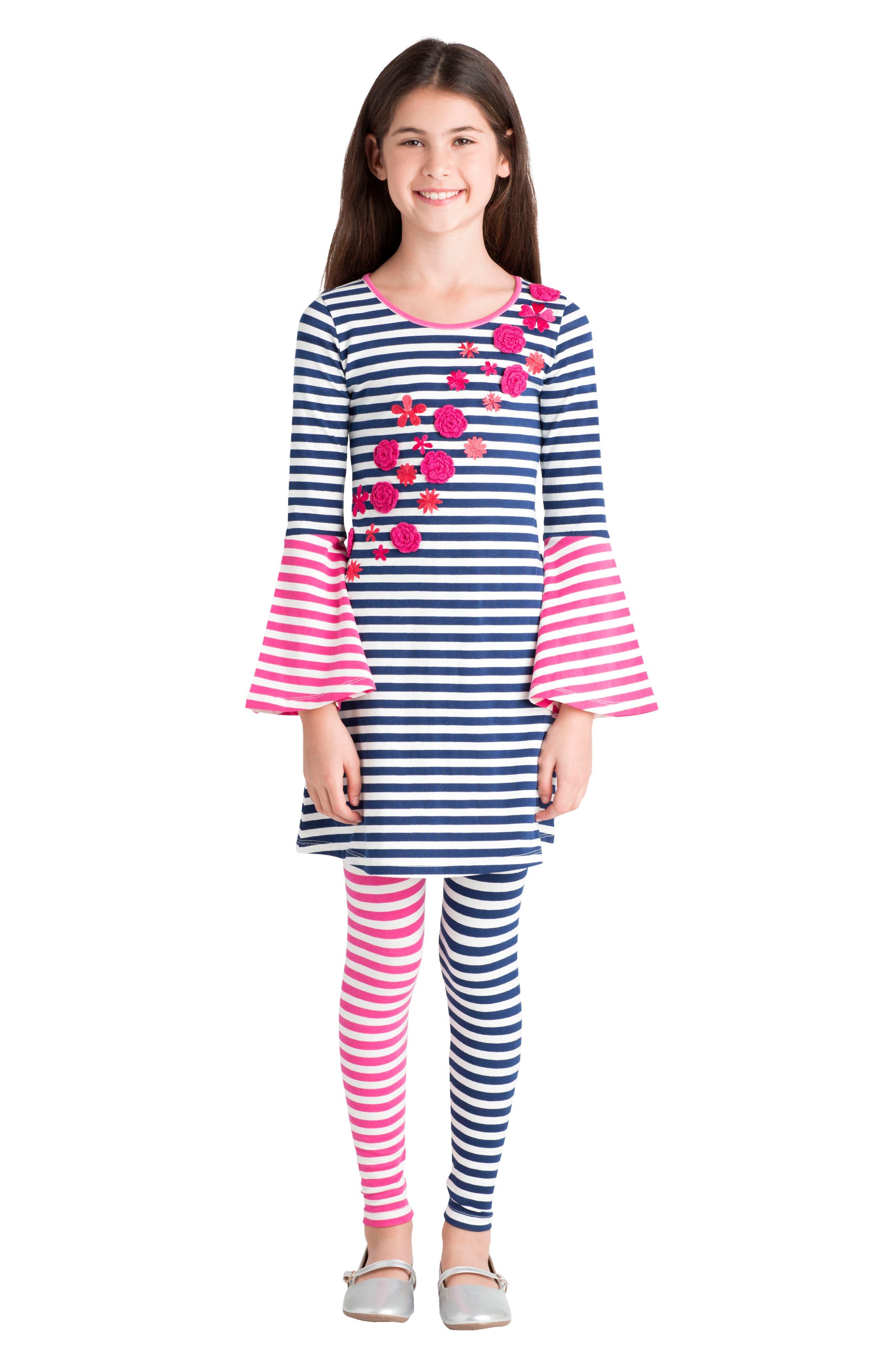 Alternate Image 2  - Masasla Baby Stripe Organic Cotton Leggings (Toddler Girls, Little Girls & Big Girls)
