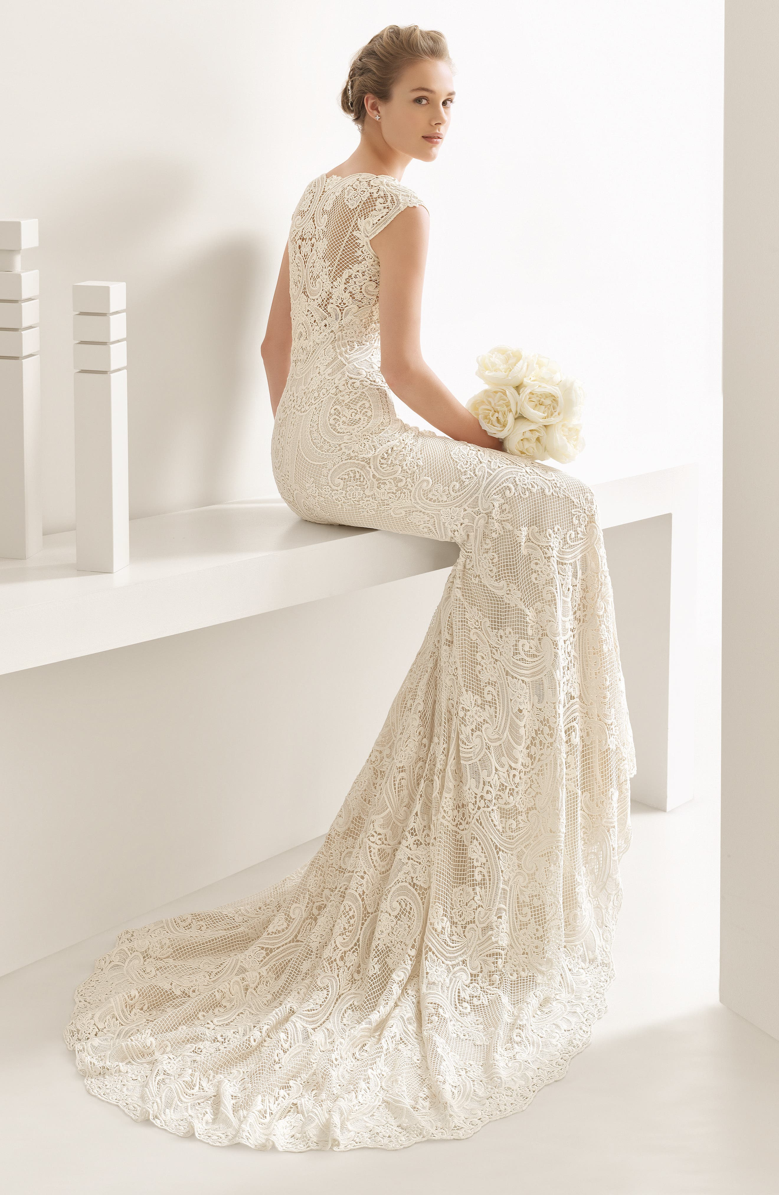 Natalia Guipure Lace Mermaid Gown,                             Alternate thumbnail 2, color,                             Ivory