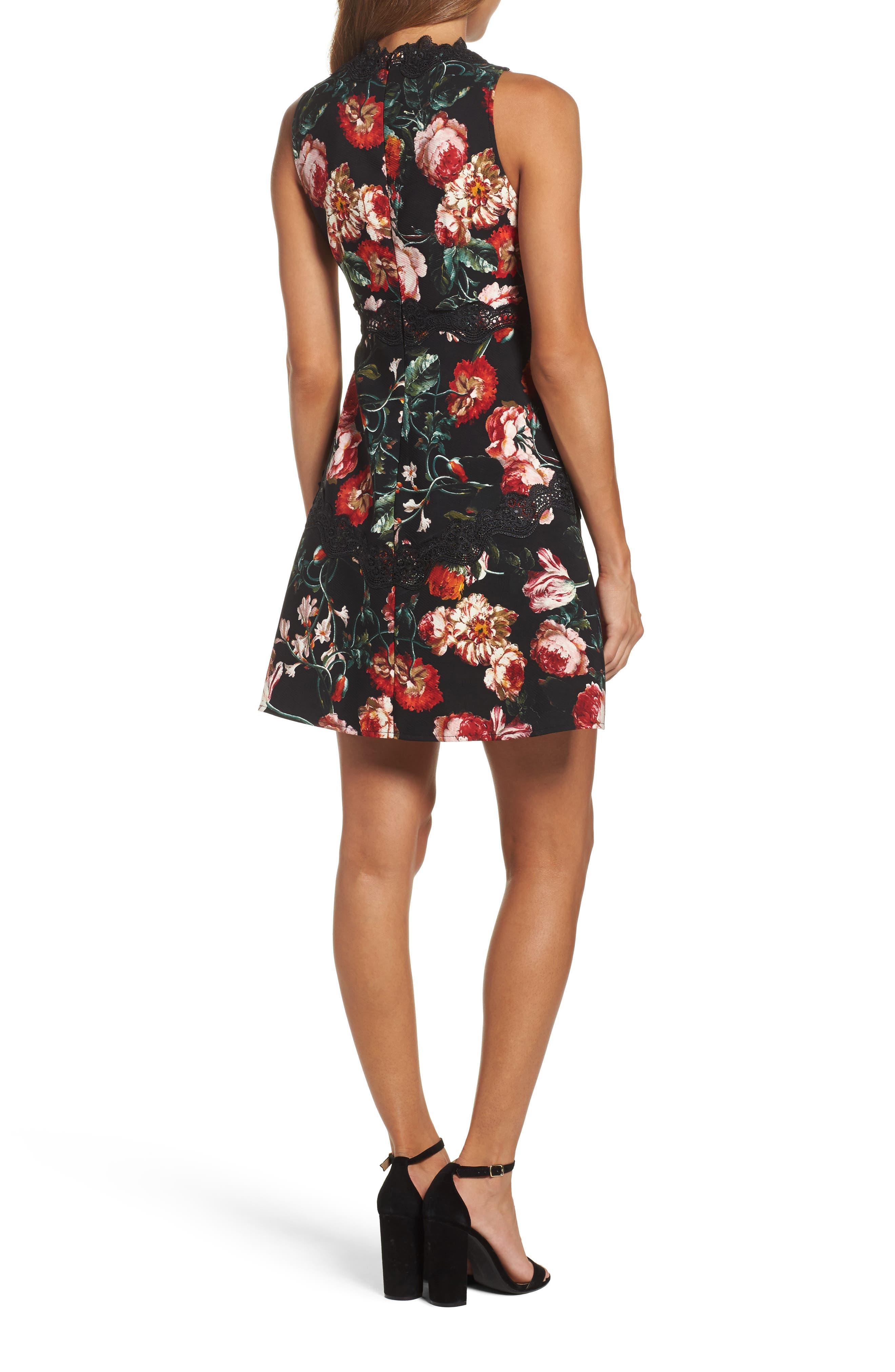 Lace Fit & Flare Dress,                             Alternate thumbnail 2, color,                             Black Foxie Floral