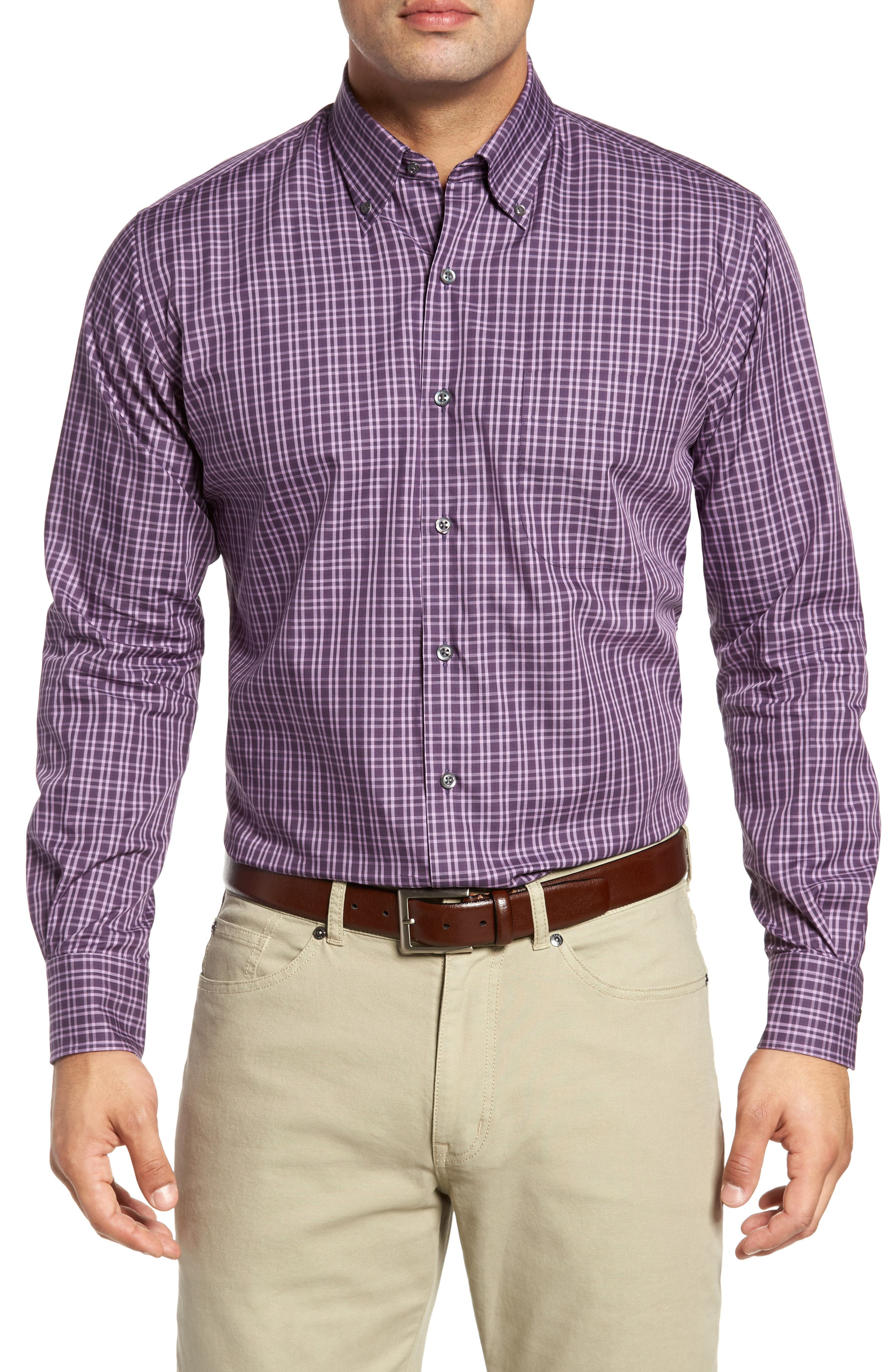 Autumn Check Regular Fit Sport Shirt,                             Main thumbnail 1, color,                             Blackberry