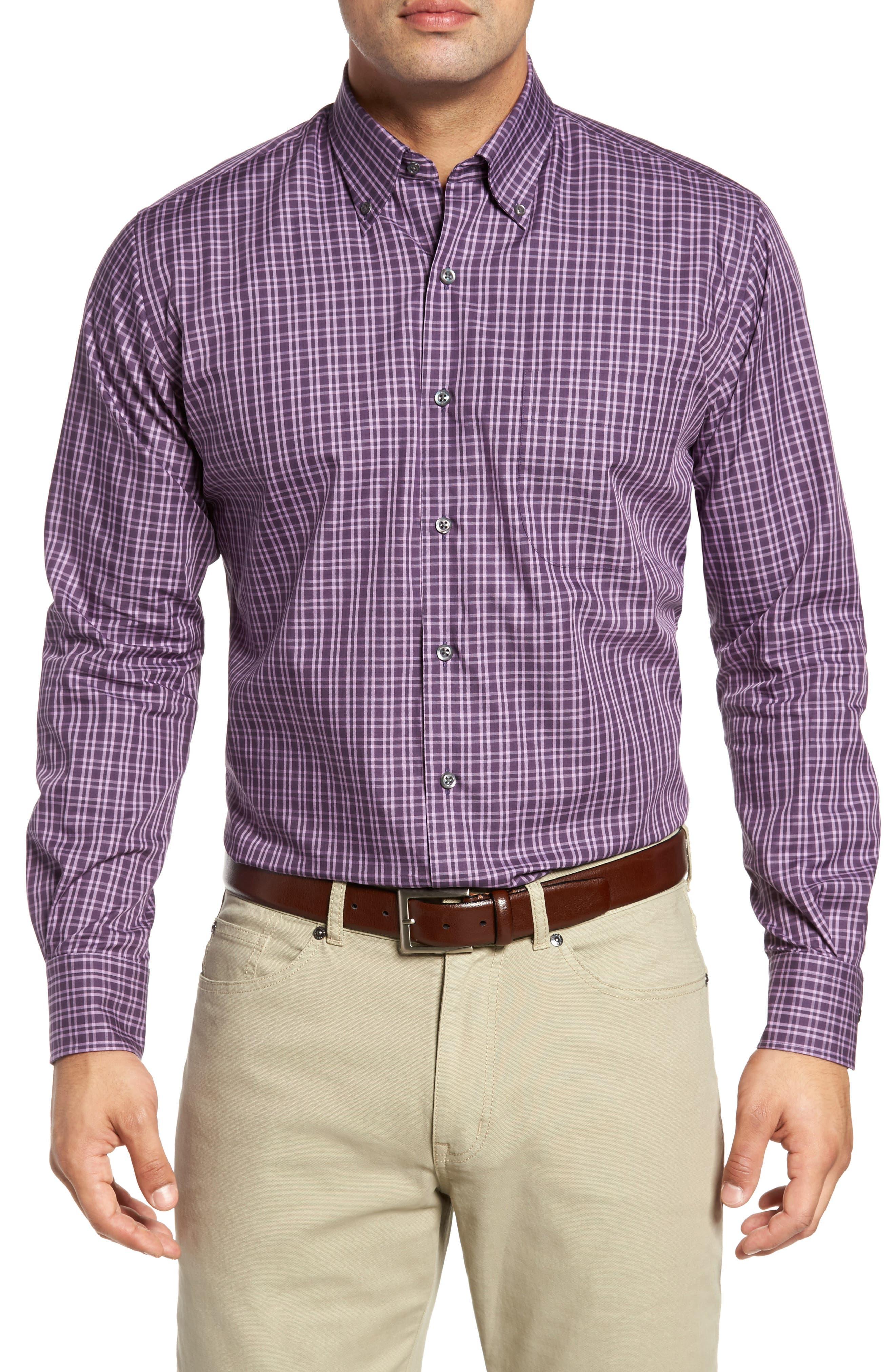 Autumn Check Regular Fit Sport Shirt,                         Main,                         color, Blackberry