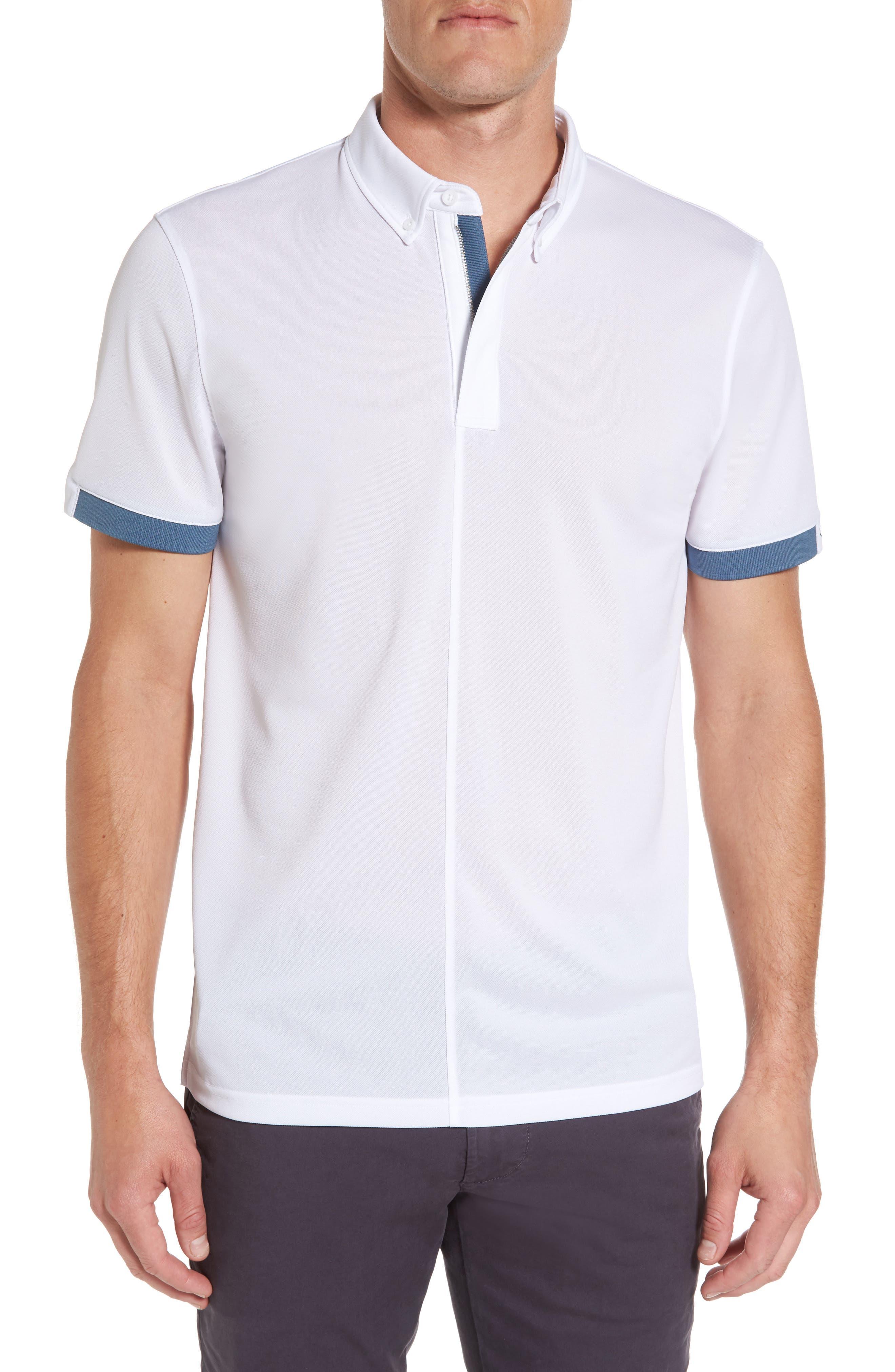 Eastridge Zip Placket Polo,                         Main,                         color, Bright White