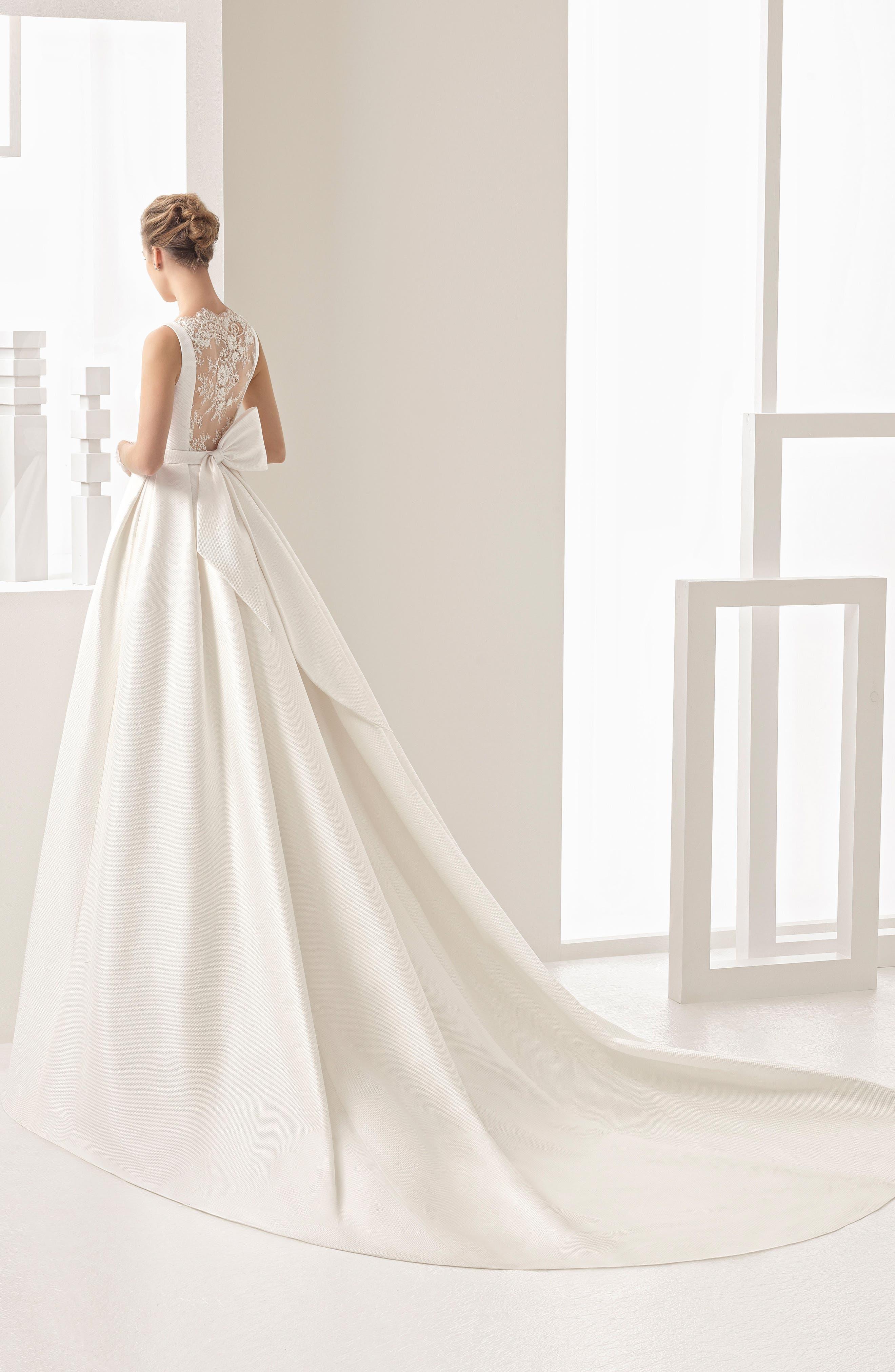 Navres Lace Back Piqué Gown,                             Alternate thumbnail 2, color,                             Natural