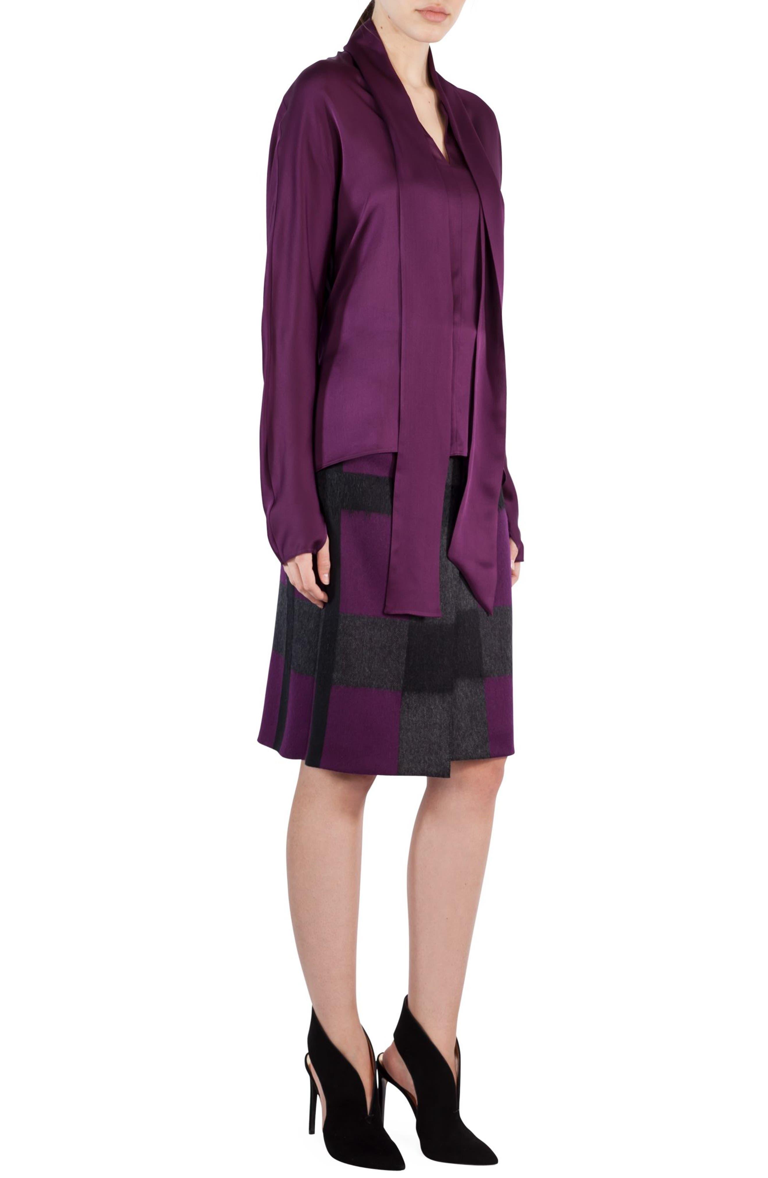 Tie Neck Silk Crepe Blouse,                             Alternate thumbnail 3, color,                             Purple