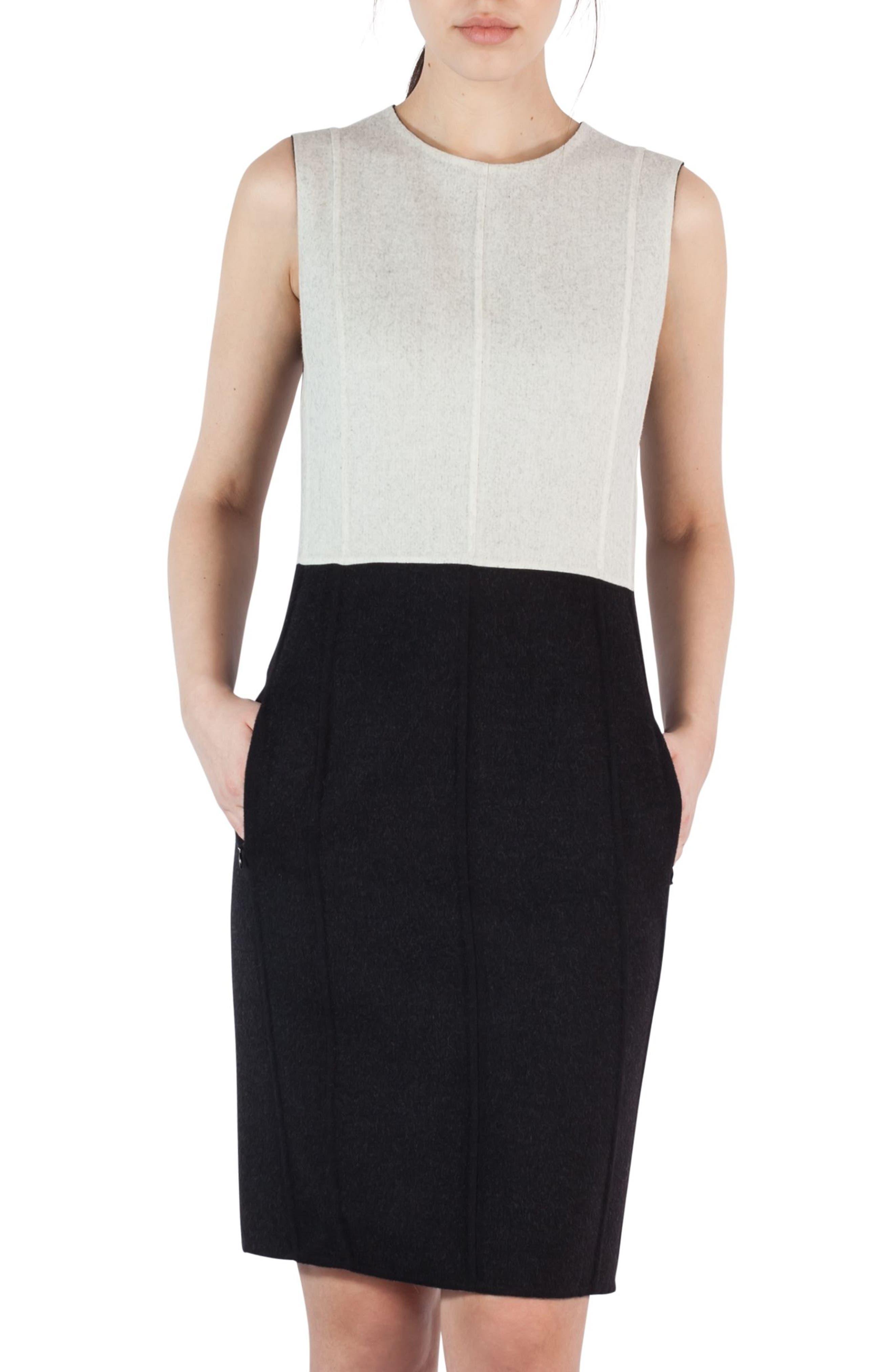 Double Face Wool Bicolor Reversible Dress,                             Main thumbnail 1, color,                             Black-Crema