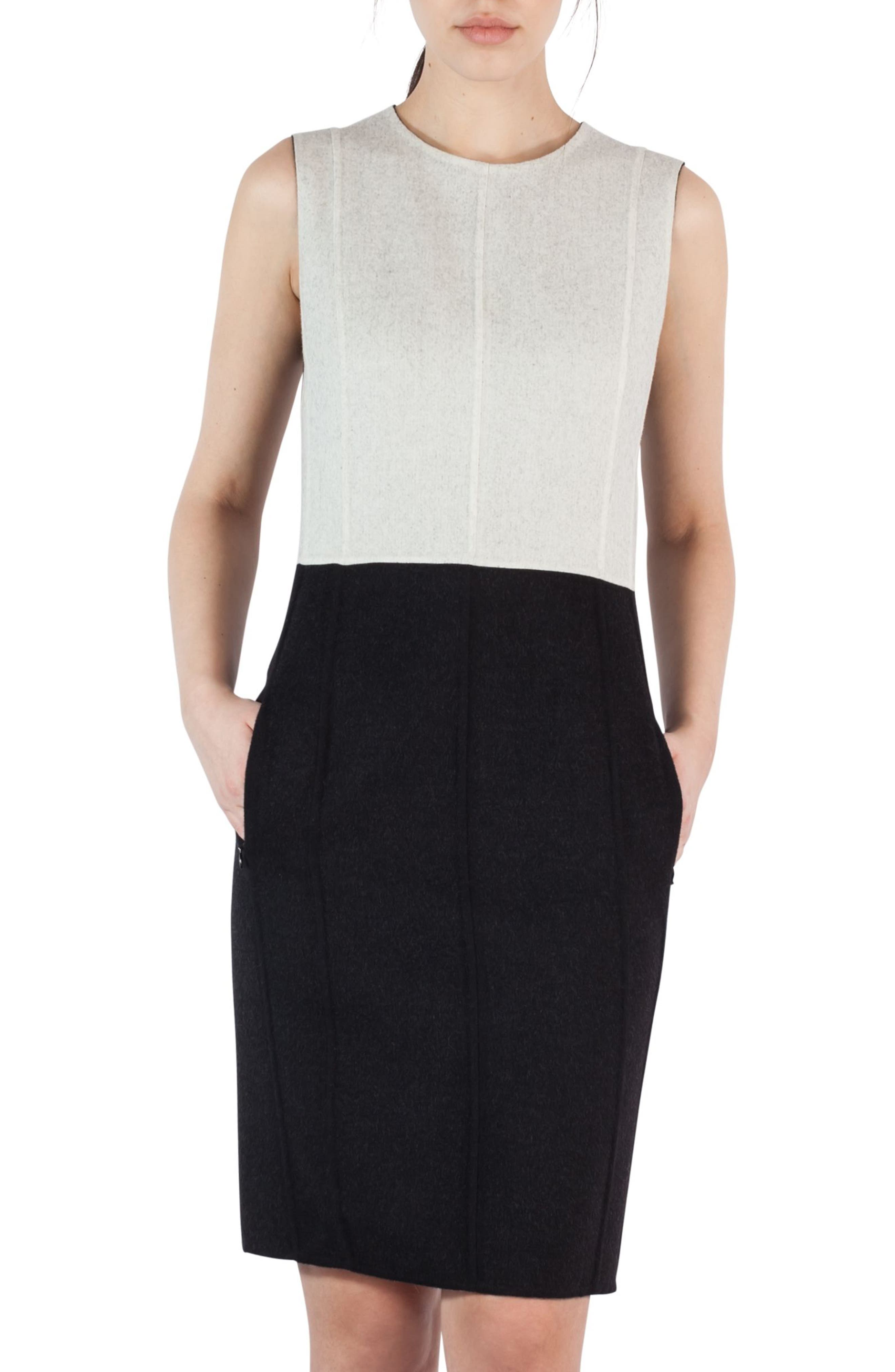 Main Image - Akris Double Face Wool Bicolor Reversible Dress