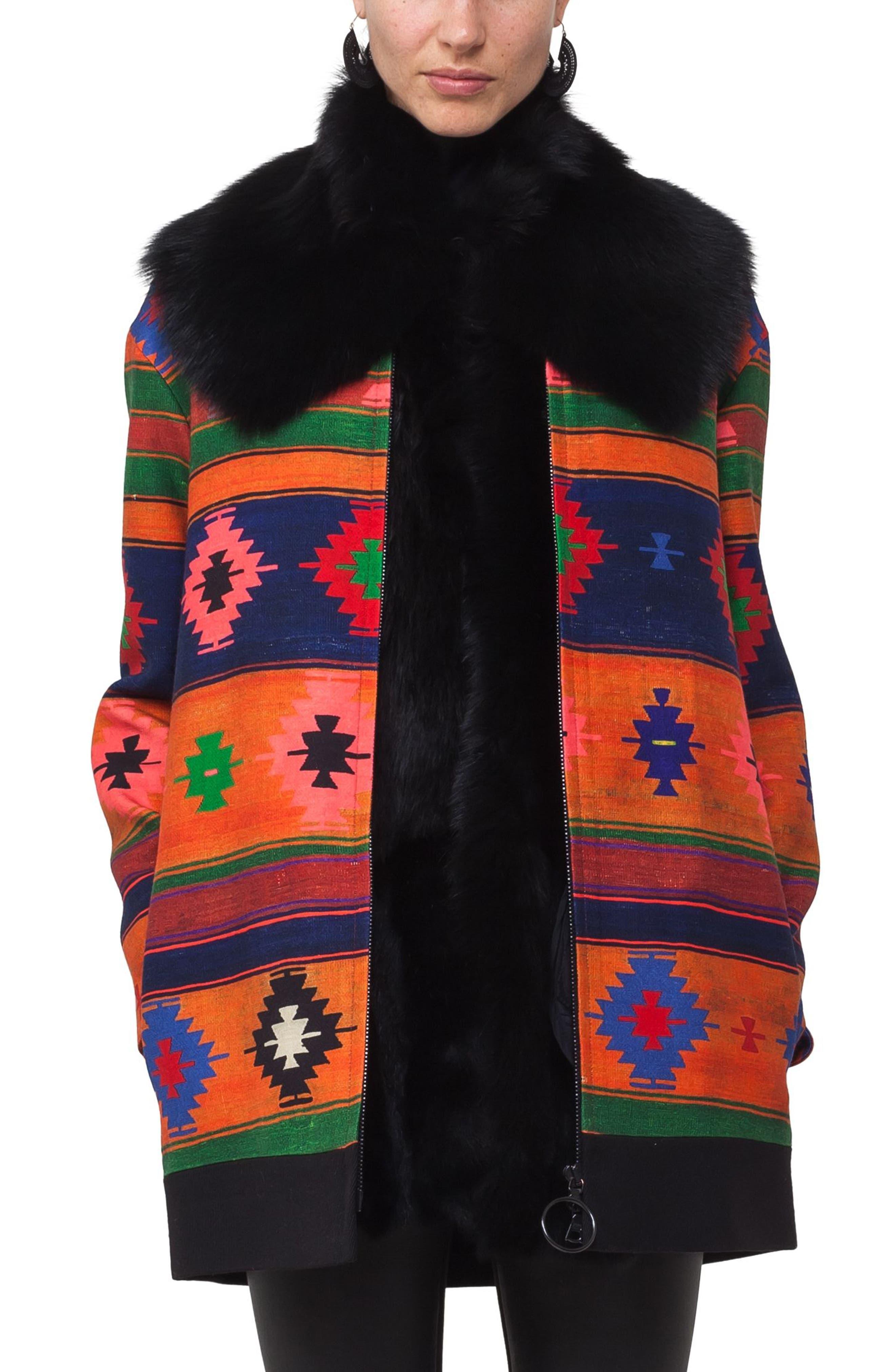 Genuine Lamb Fur Scarf,                             Main thumbnail 1, color,                             Black
