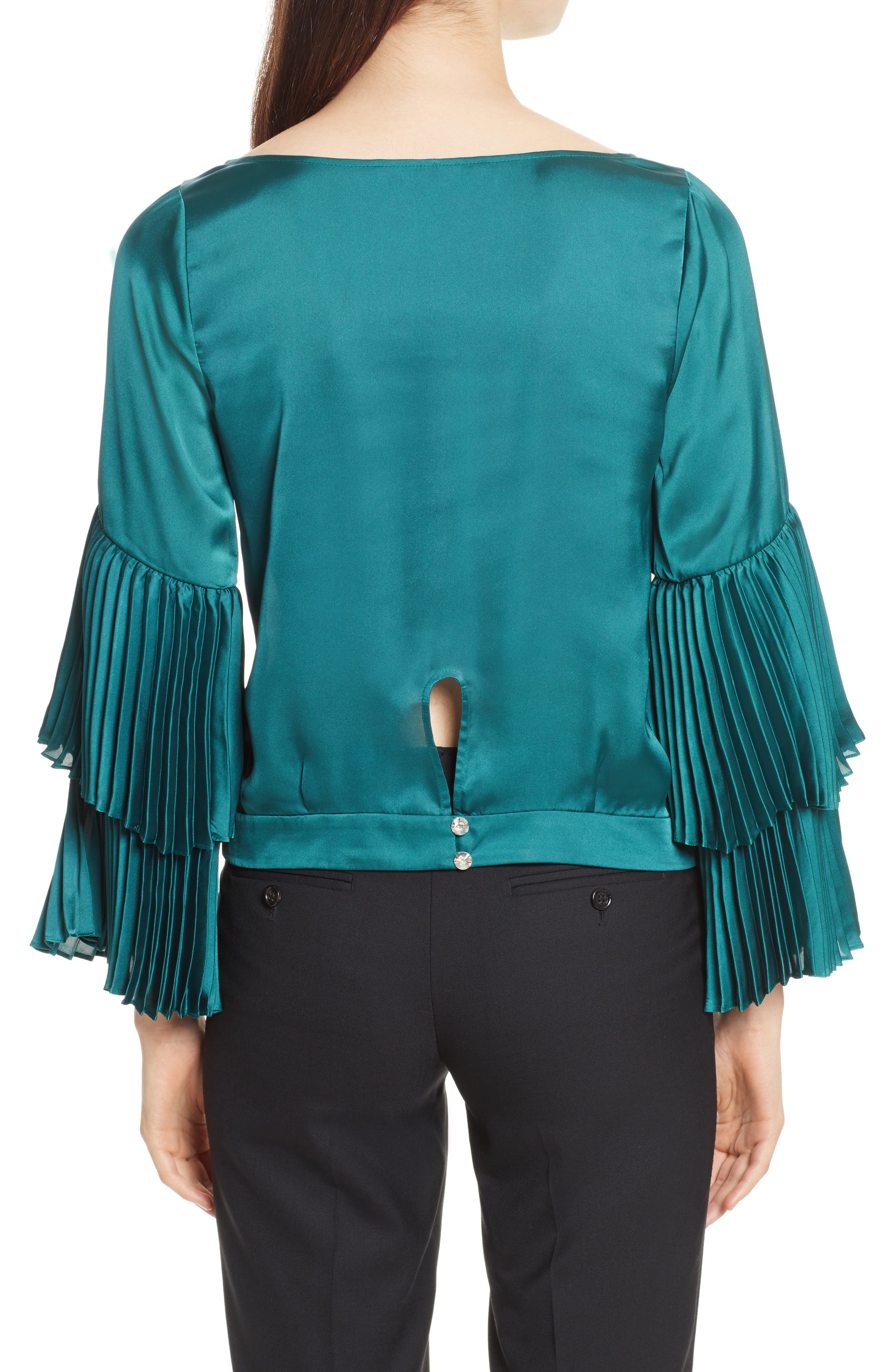 Pleated Bell Sleeve Boxy Blouse,                             Alternate thumbnail 2, color,                             Holly