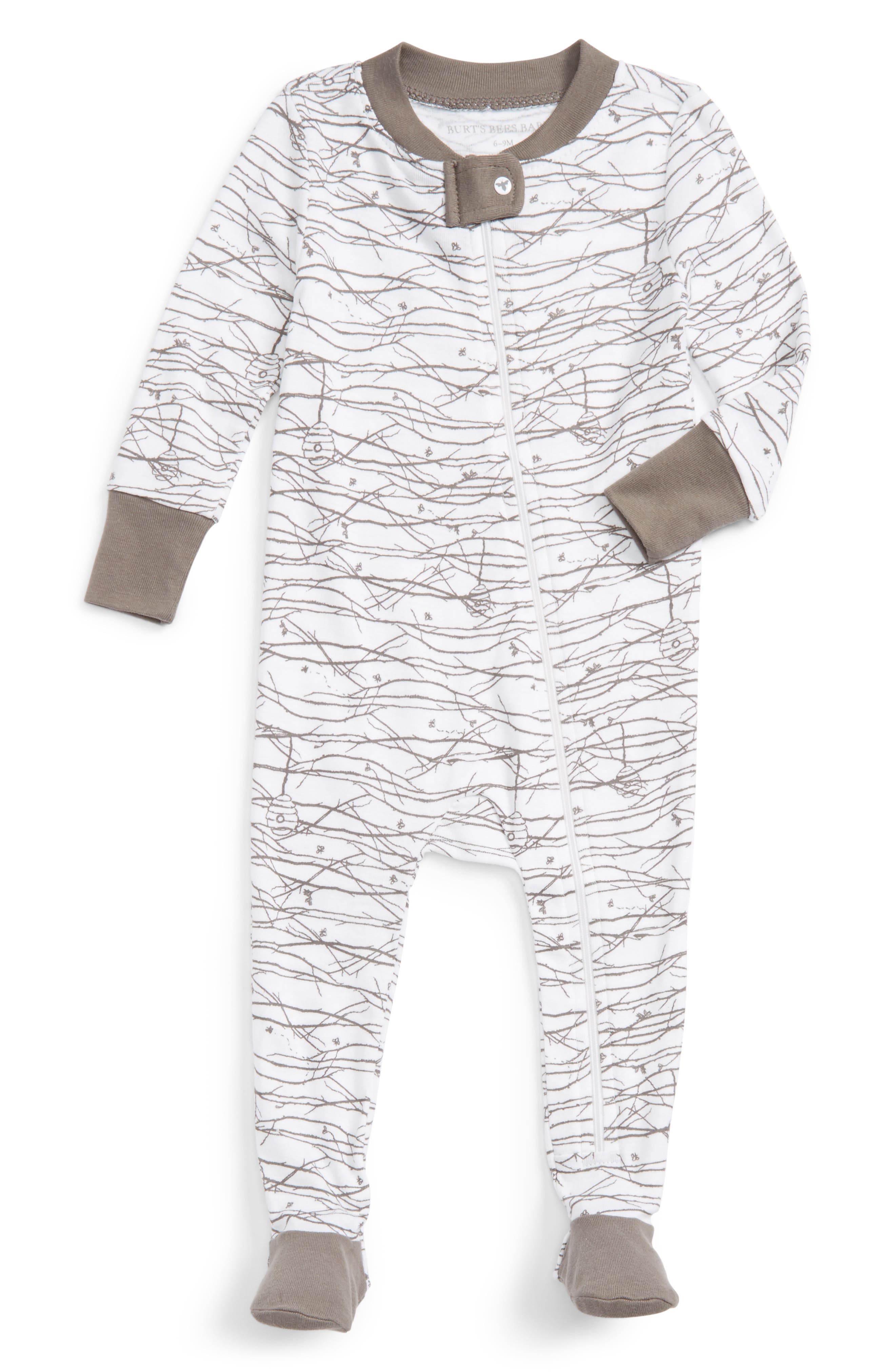 BURTS BEES BABY Autumn Trees Organic Cotton One-Piece Footed Pajamas