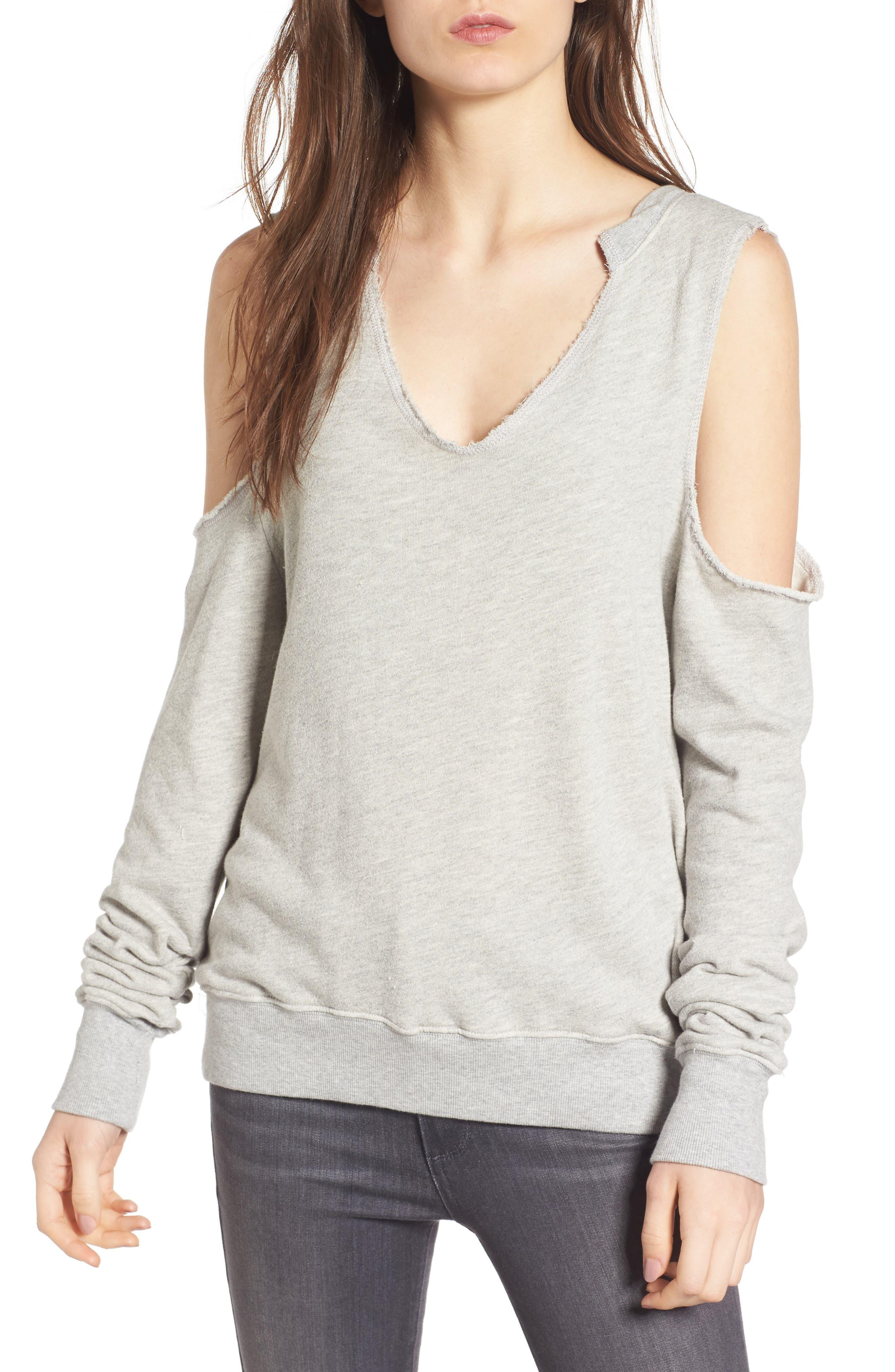 Cold Shoulder Sweatshirt,                         Main,                         color, Heather Grey