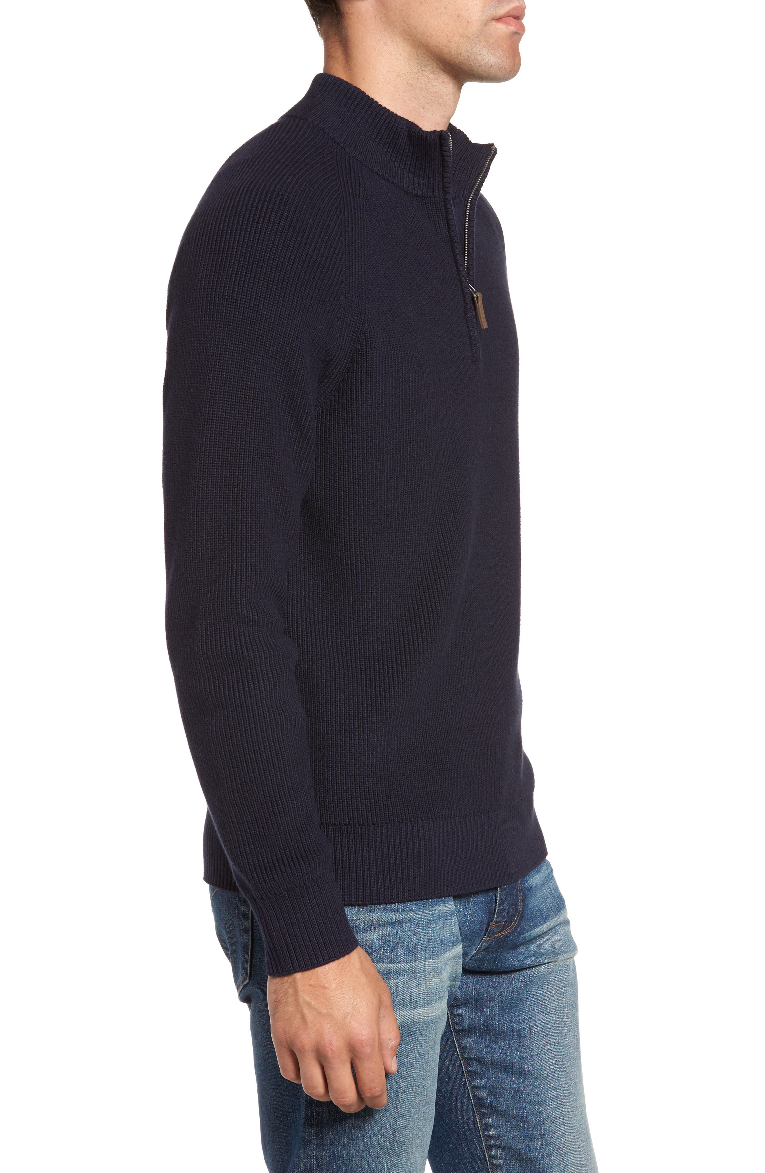 Ribbed Quarter Zip Sweater,                             Alternate thumbnail 3, color,                             Navy Night