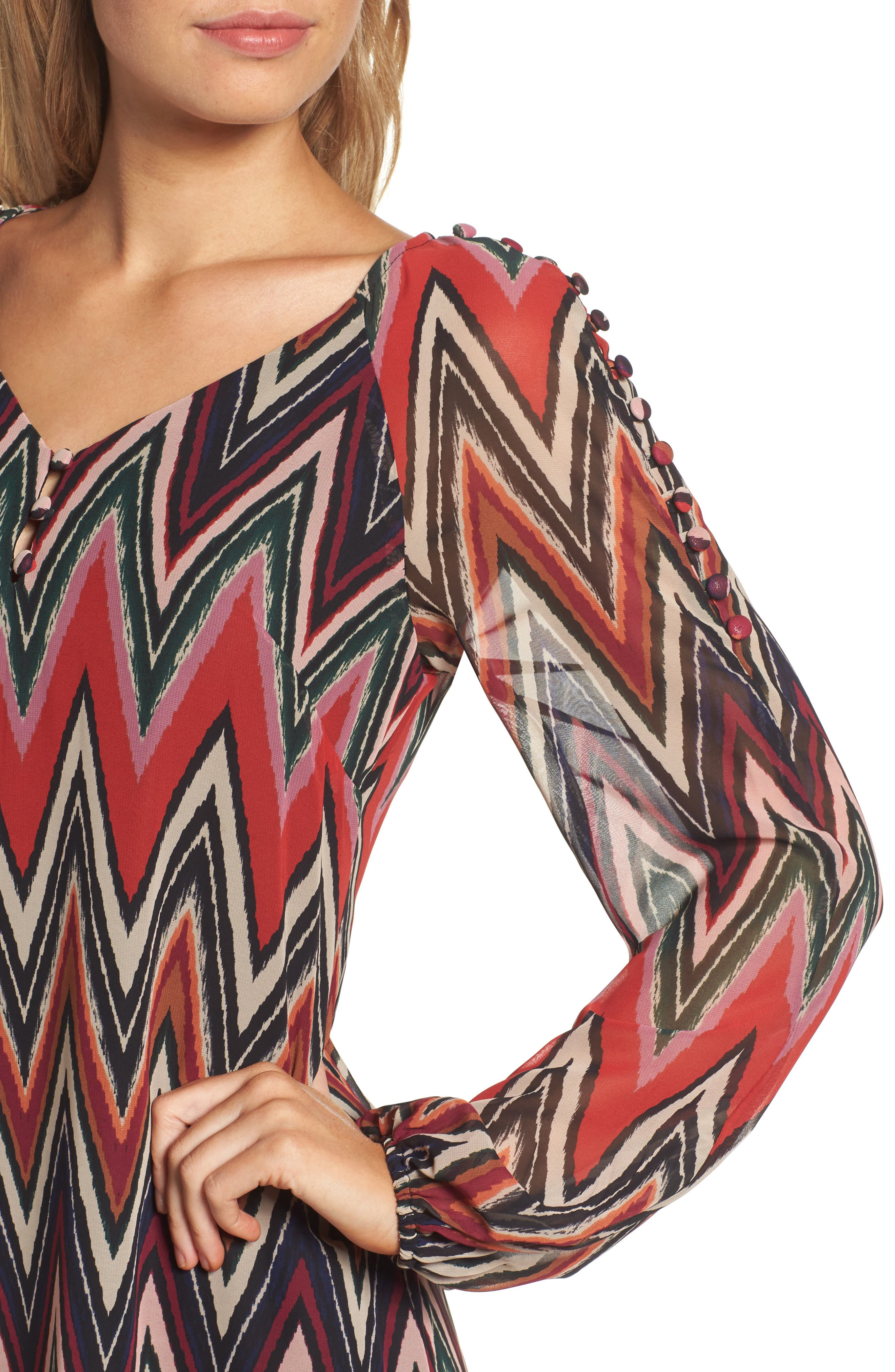 Chevron Swing Dress,                             Alternate thumbnail 4, color,                             Red/ Black