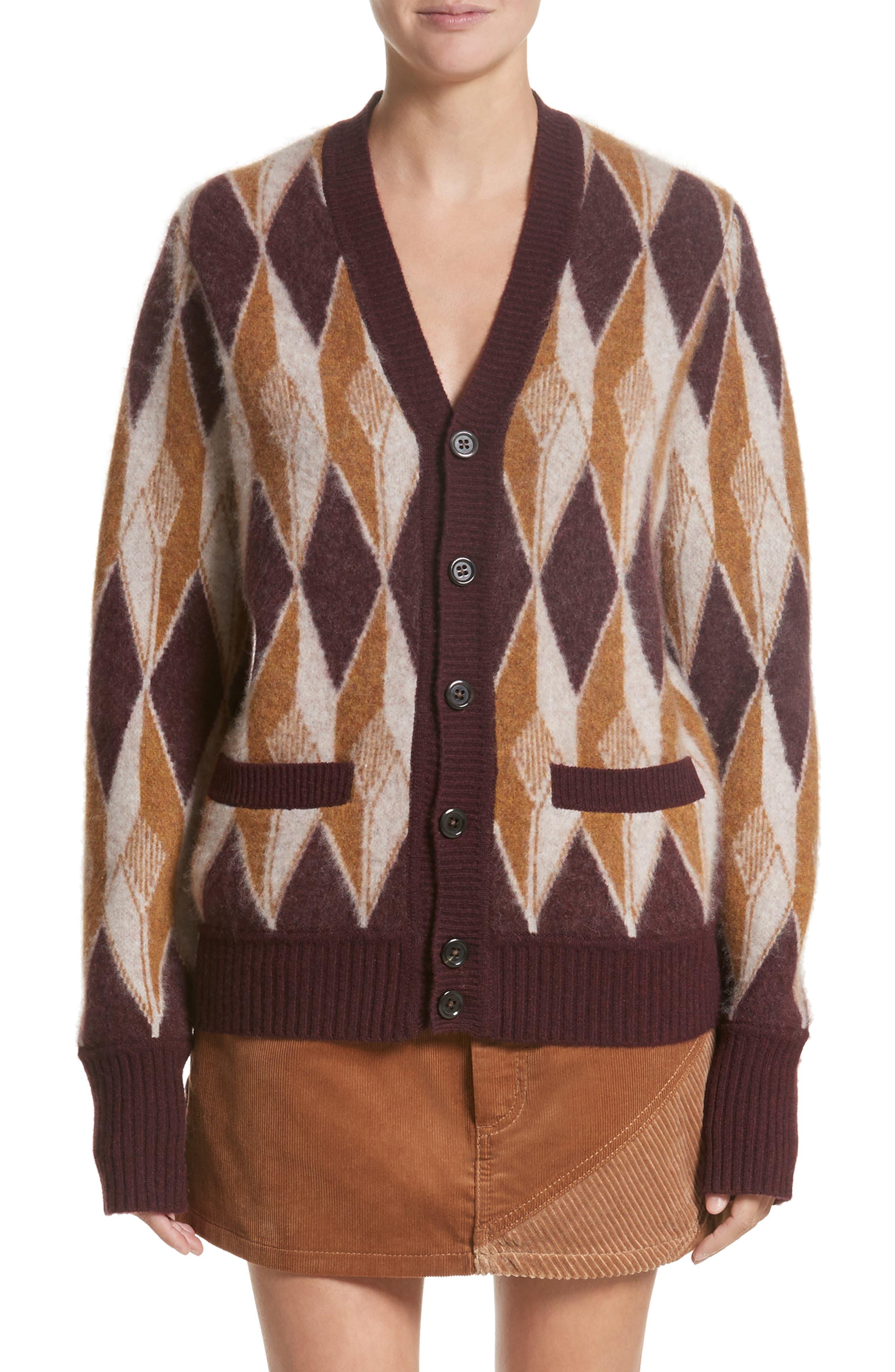 MARC JACOBS Boiled Cashmere Jacquard Button Cardigan