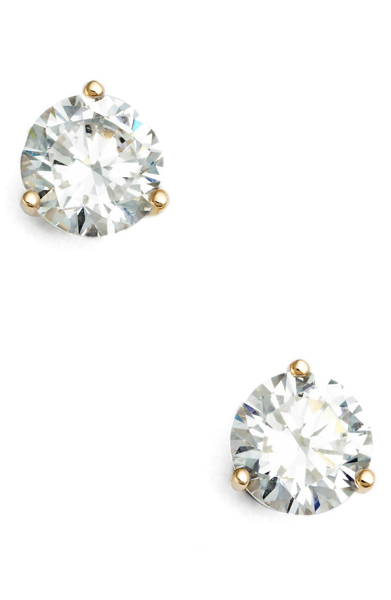 Cubic Zirconia Earrings,                         Main,                         color, Clear Cz/ Gold Vermeil