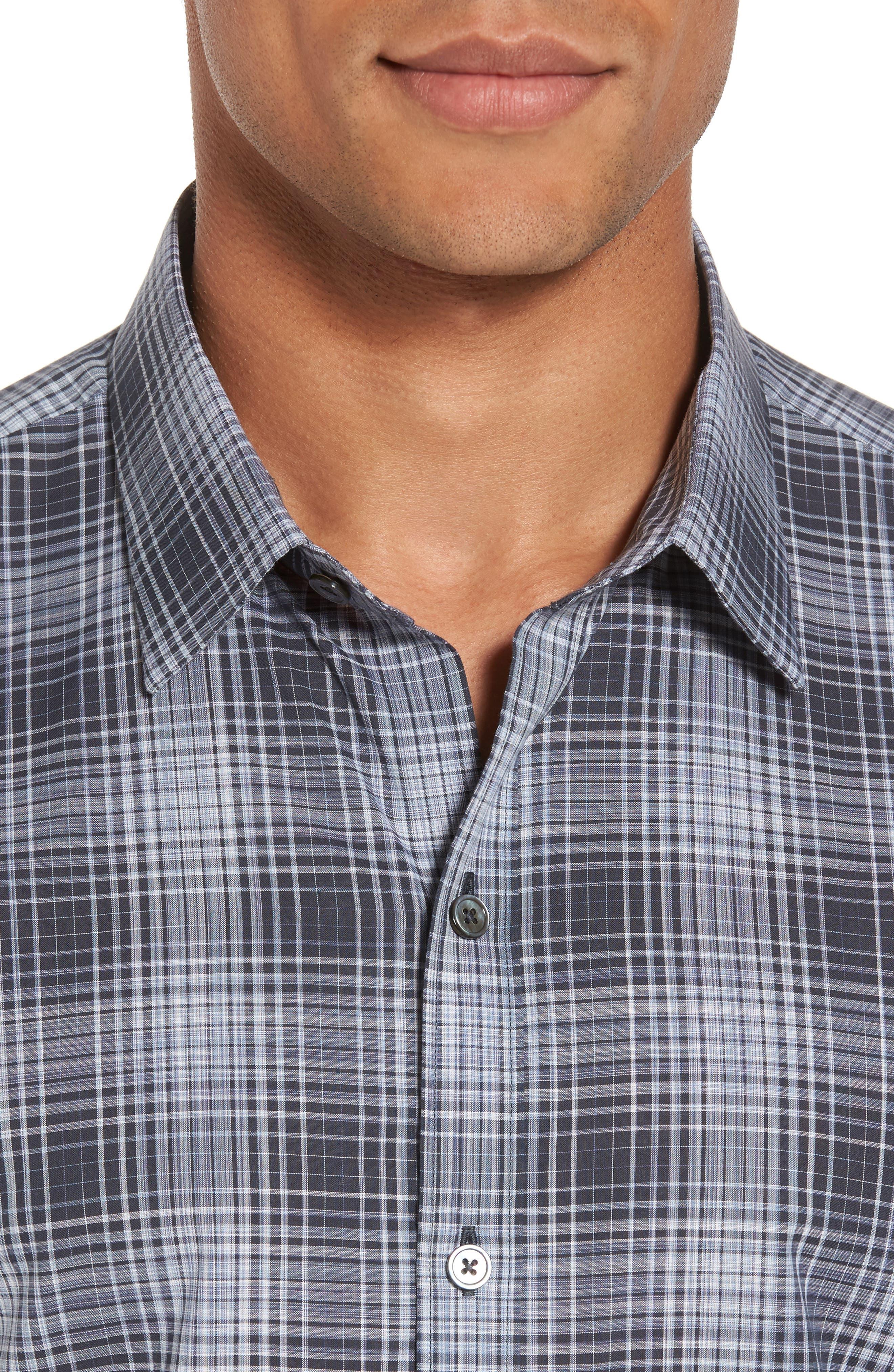 Zander Check Sport Shirt,                             Alternate thumbnail 4, color,                             Dark Grey