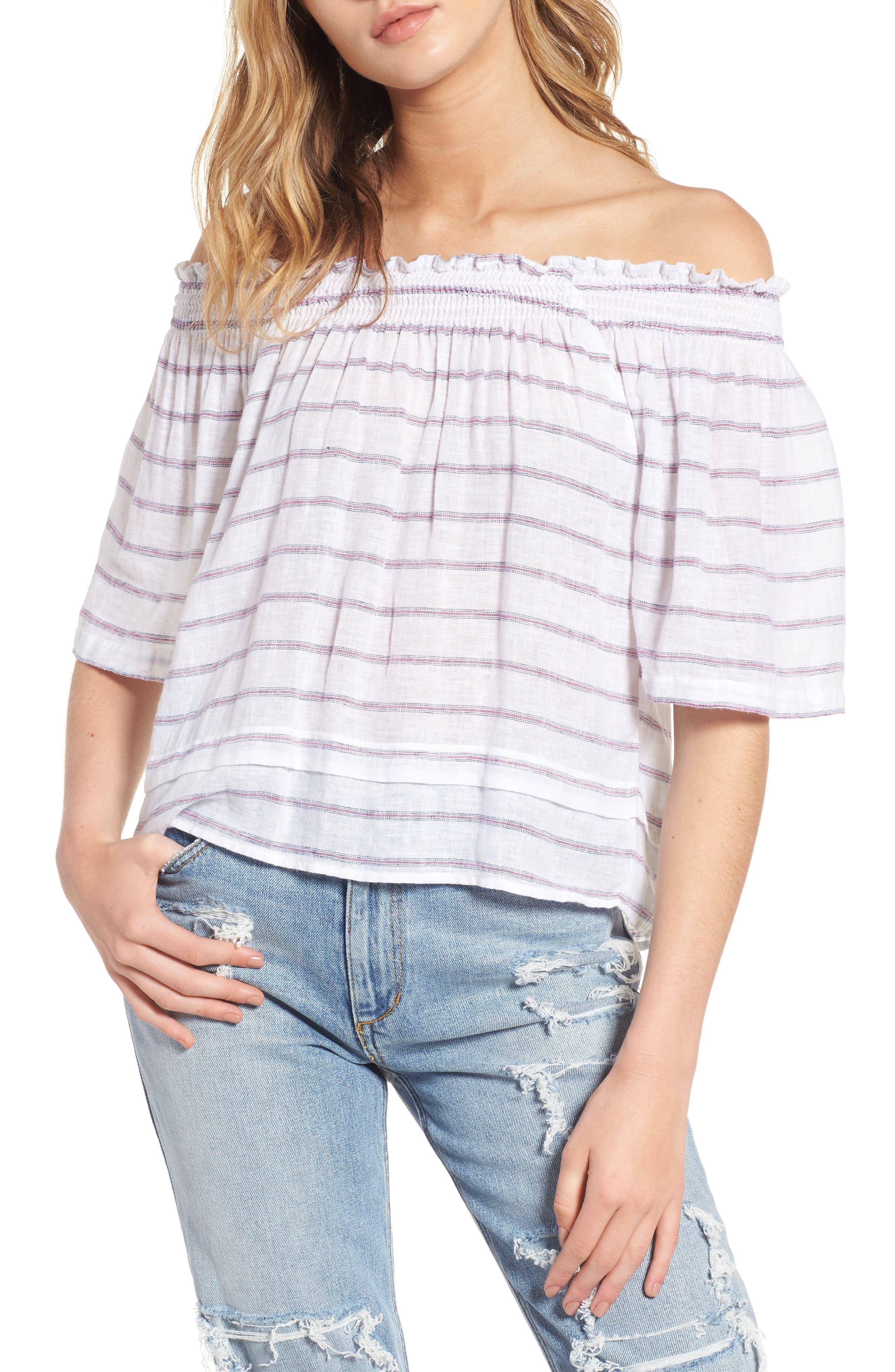 Main Image - Rails Isabelle Off the Shoulder Linen Blend Top
