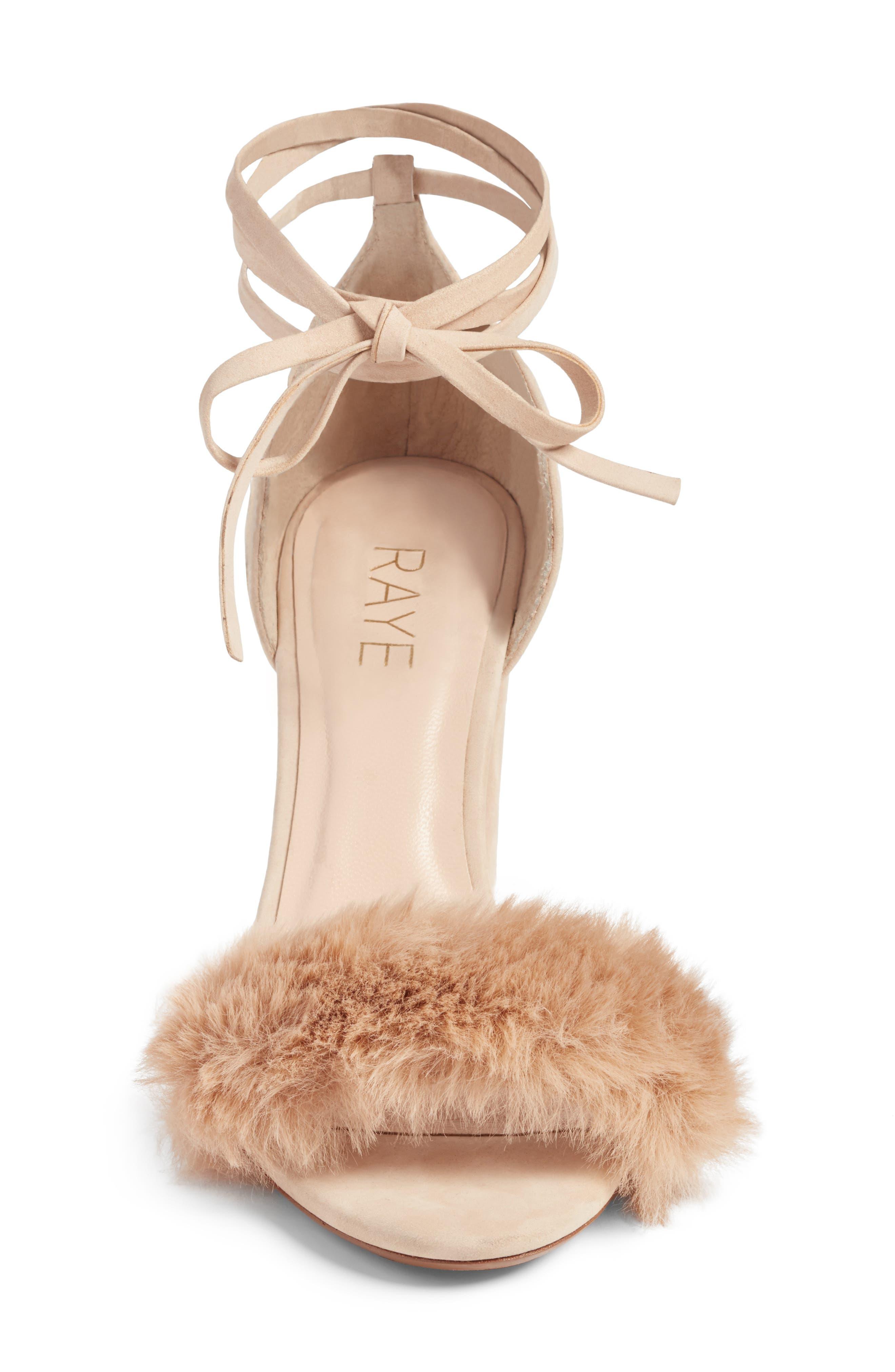 Lacey Faux Fur Sandal,                             Alternate thumbnail 4, color,                             Sable Fur
