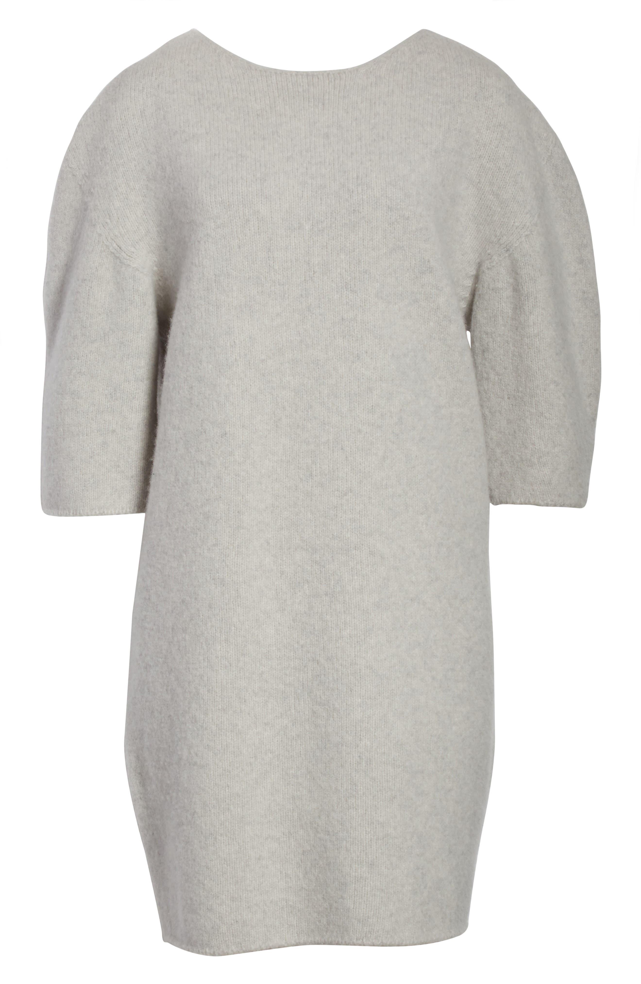 Baseball Wool Sweater Dress,                             Alternate thumbnail 7, color,                             Silver Melange