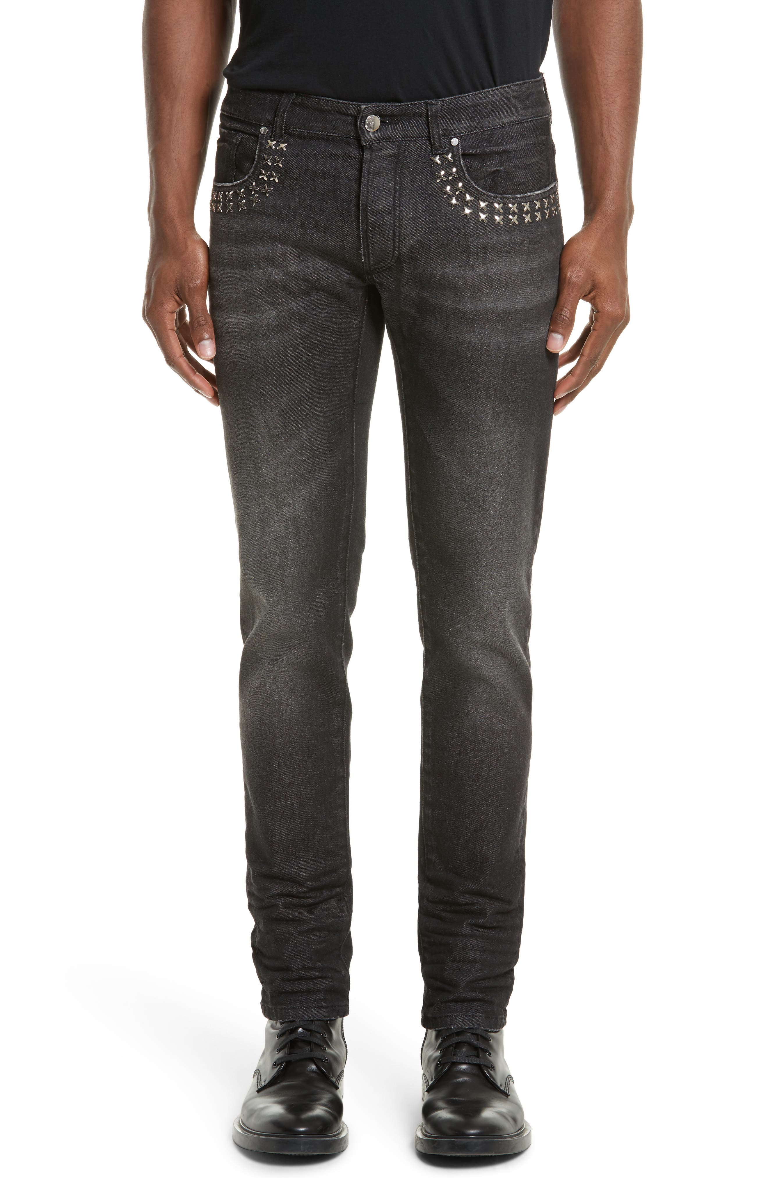 Studded Skinny Fit Jeans,                         Main,                         color, Vintage Black
