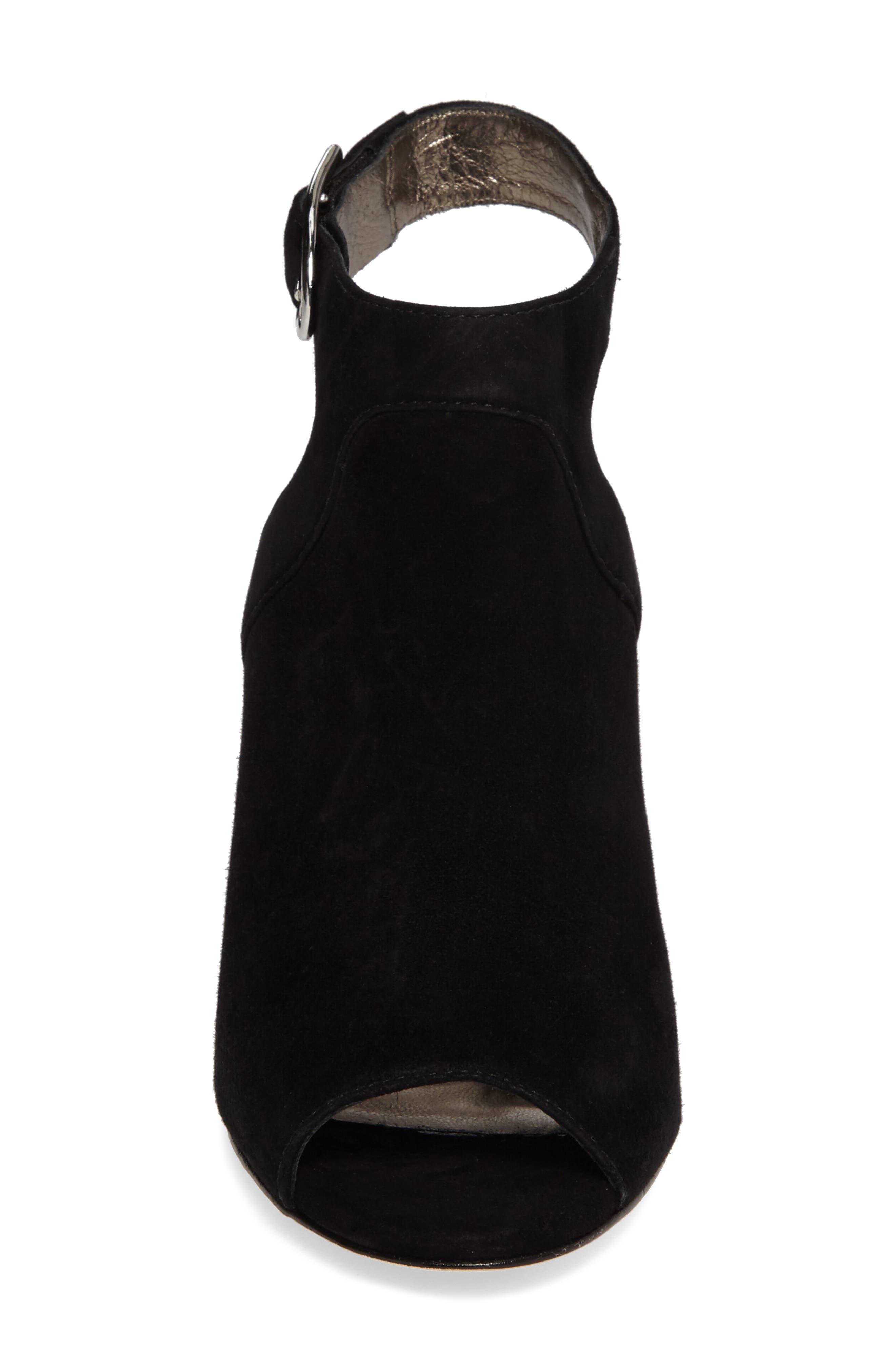 Cassie Peep Toe Sandal,                             Alternate thumbnail 4, color,                             Black Leather
