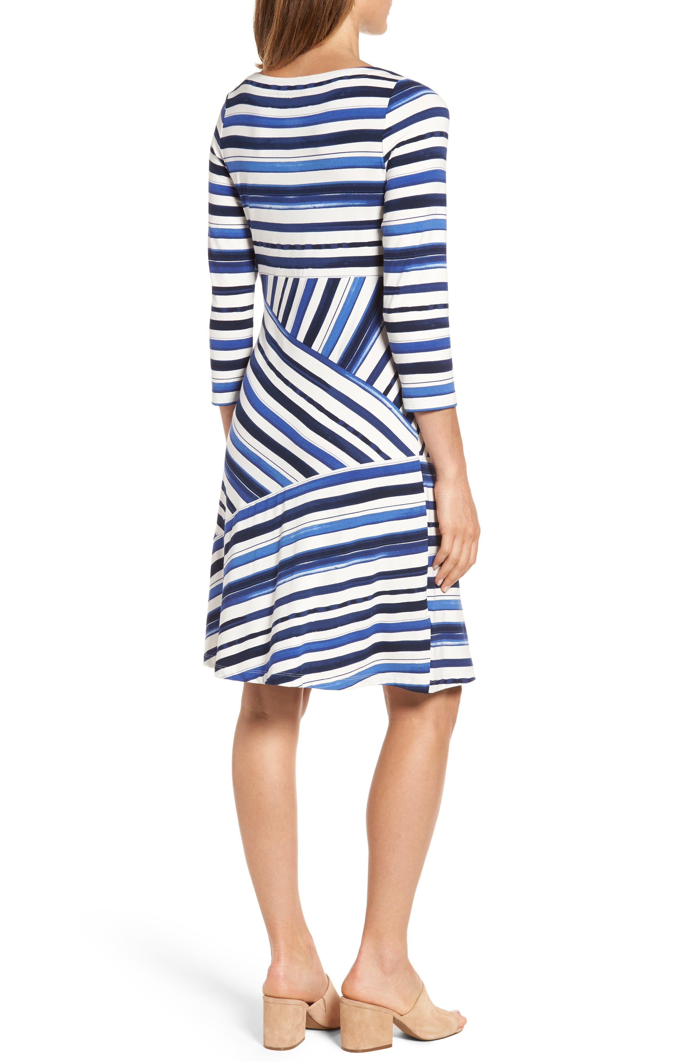 Aquarelle Stripe A-Line Dress,                             Alternate thumbnail 2, color,                             Eclipse